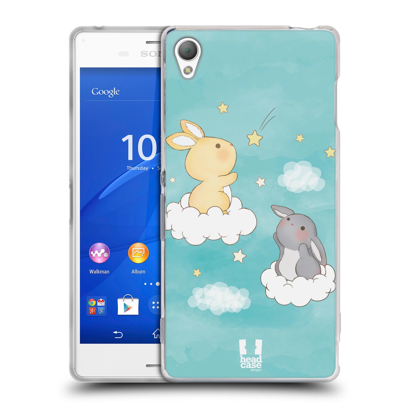 HEAD CASE silikonový obal na mobil Sony Xperia Z3 vzor králíček a hvězdy modrá