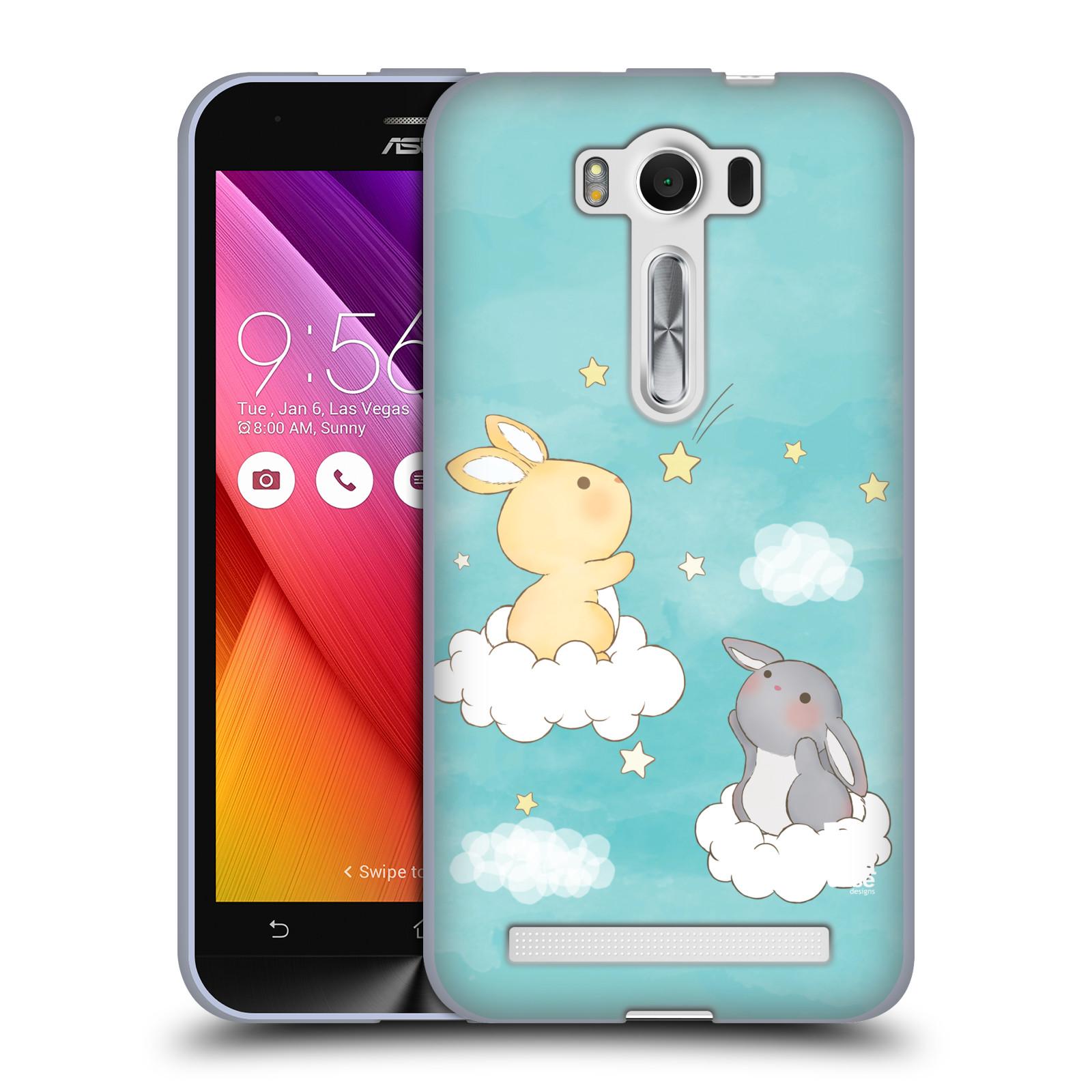 """HEAD CASE silikonový obal na mobil Asus Zenfone 2 LASER (ZE500KL s 5"""" displejem) vzor králíček a hvězdy modrá"""