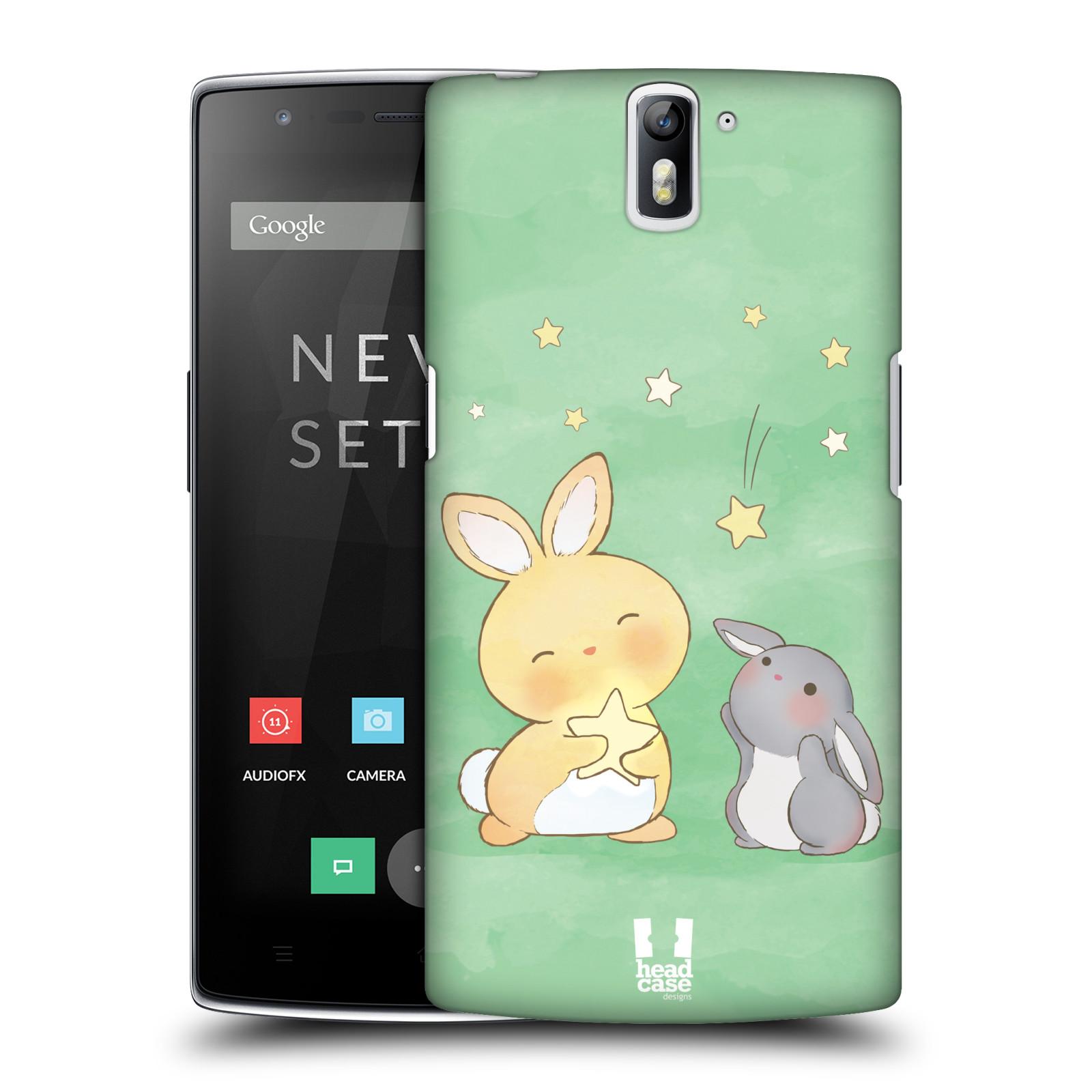 HEAD CASE pevný plastový obal na mobil OnePlus ONE vzor králíček a hvězdy zelená