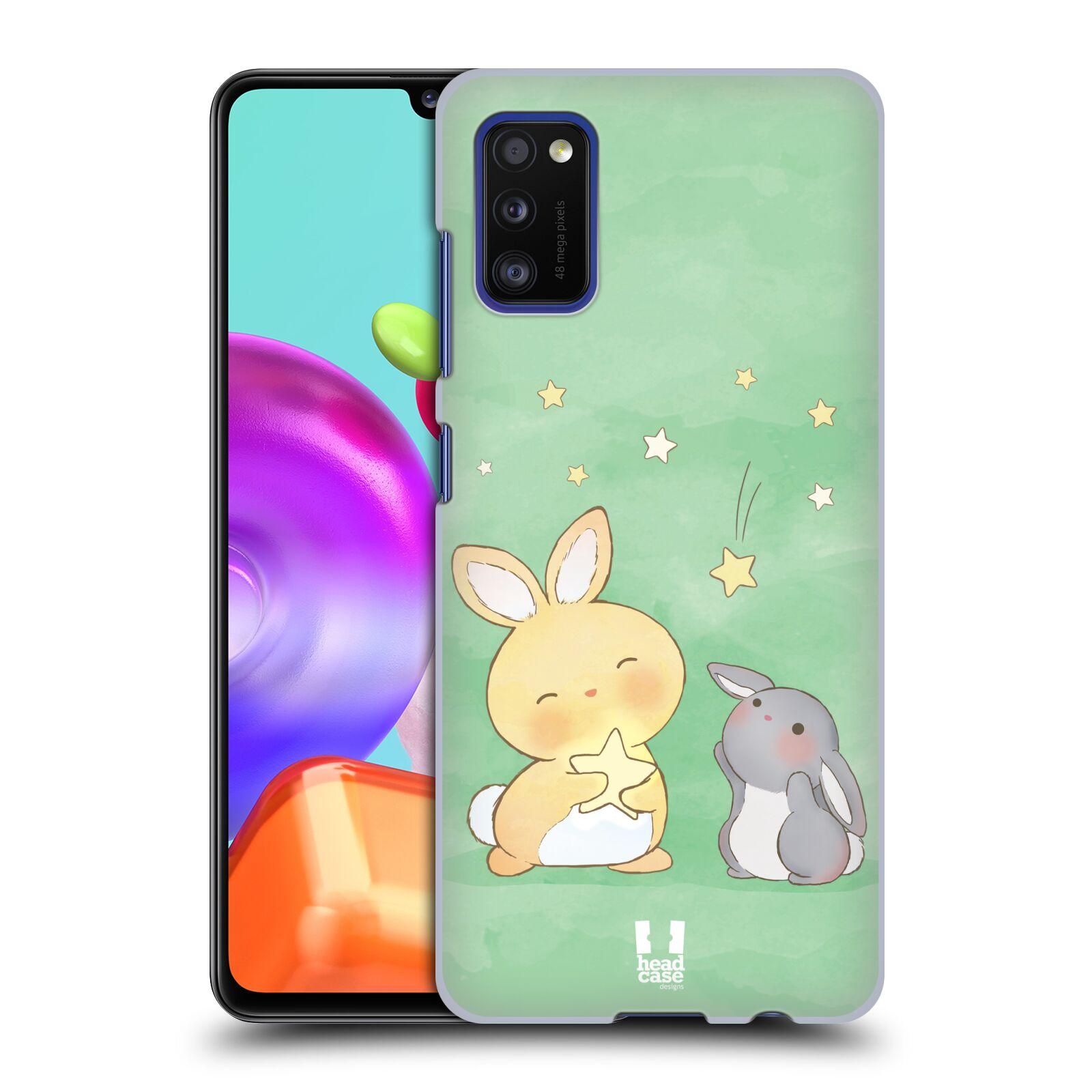 Zadní kryt na mobil Samsung Galaxy A41 vzor králíček a hvězdy zelená