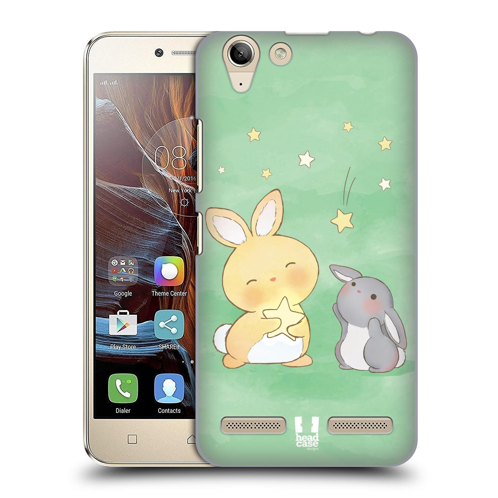 HEAD CASE plastový obal na mobil Lenovo Vibe K5 / Lenovo Vibe K5 PLUS vzor králíček a hvězdy zelená