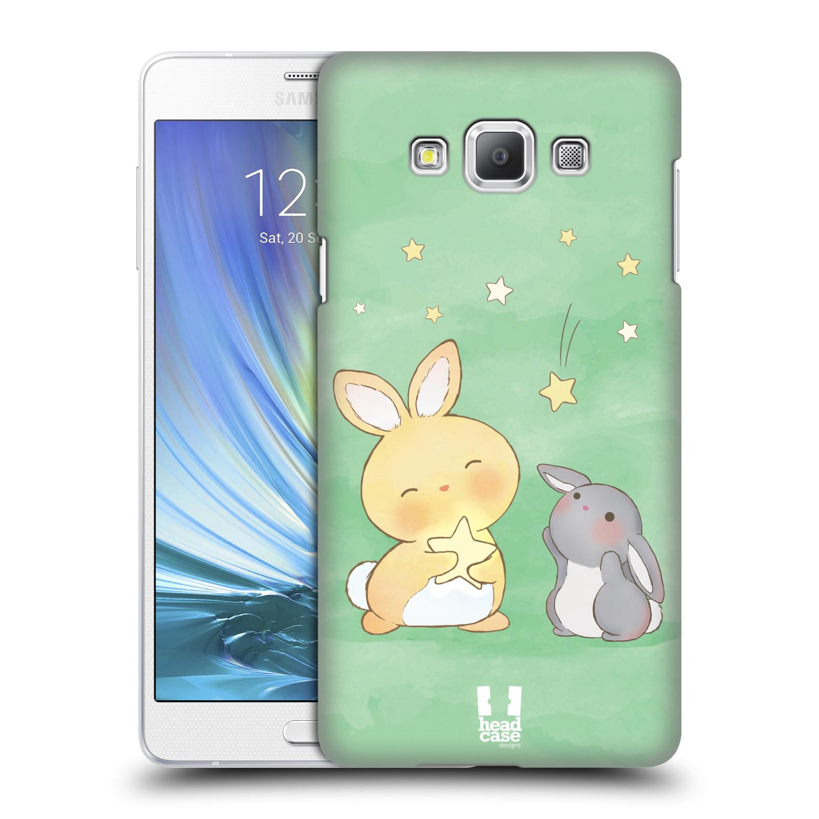 HEAD CASE plastový obal na mobil SAMSUNG GALAXY A7 vzor králíček a hvězdy zelená