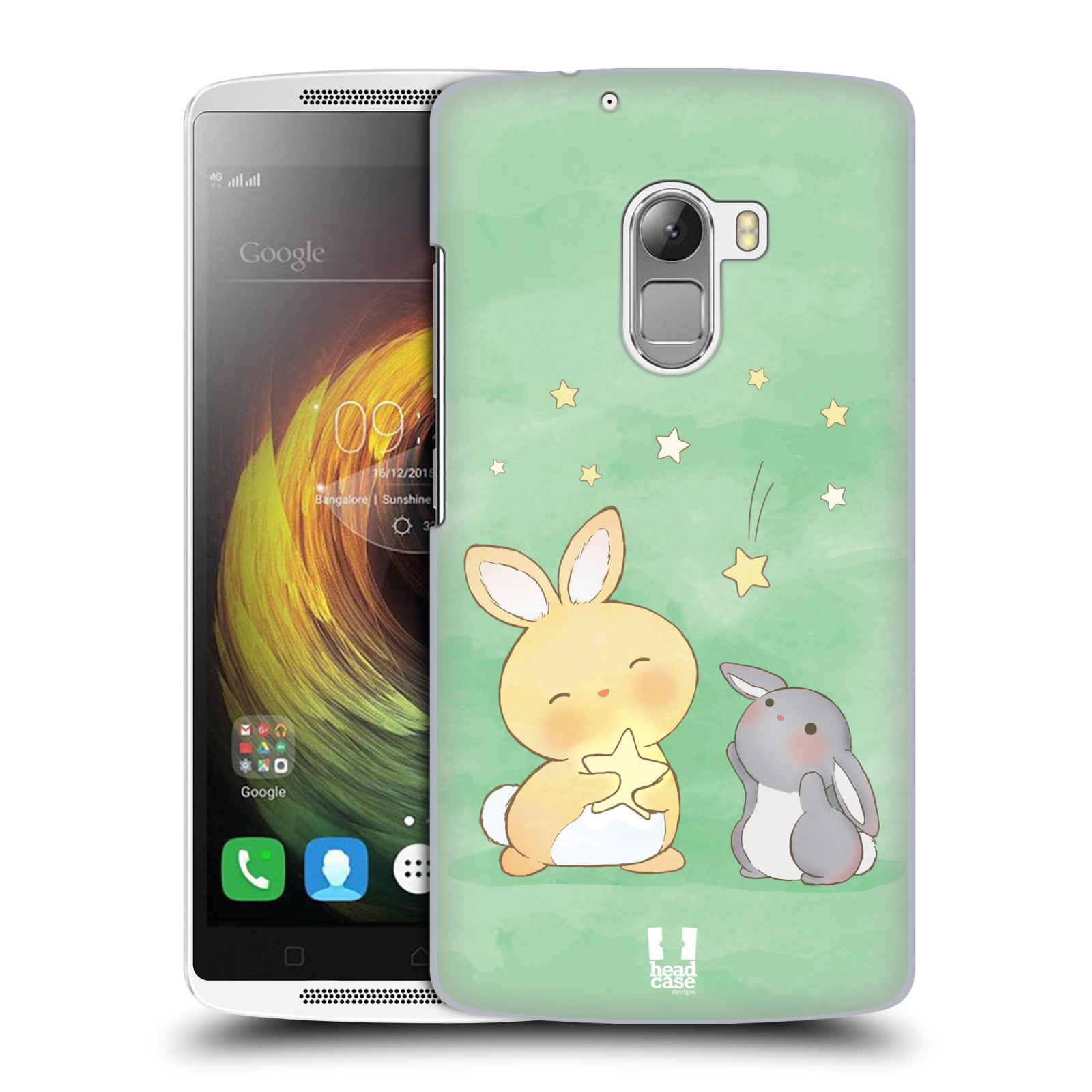HEAD CASE pevný plastový obal na mobil LENOVO A7010 / A7010 DUAL / K4 Note / Vibe X3 lite vzor králíček a hvězdy zelená