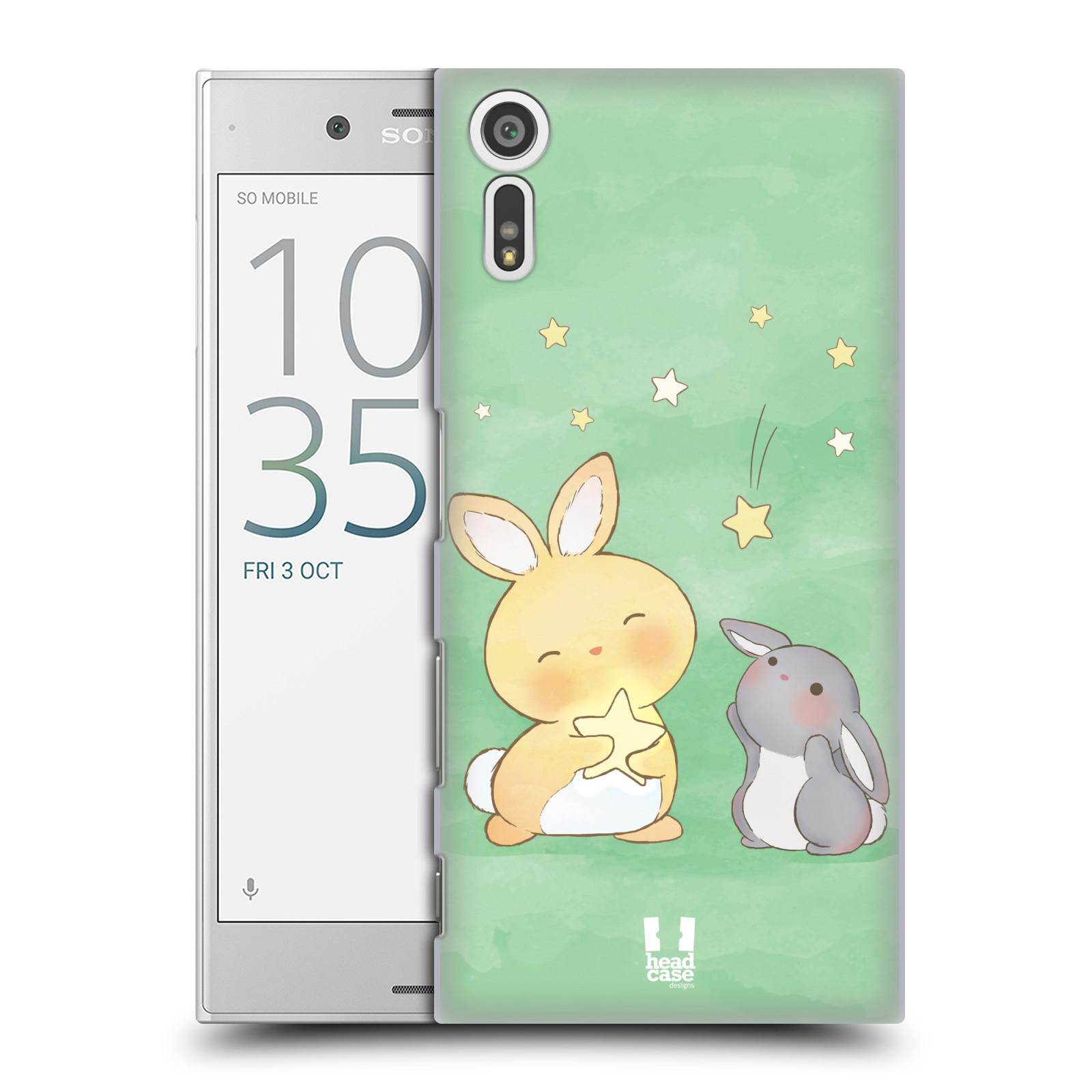 HEAD CASE plastový obal na mobil Sony Xperia XZ vzor králíček a hvězdy zelená