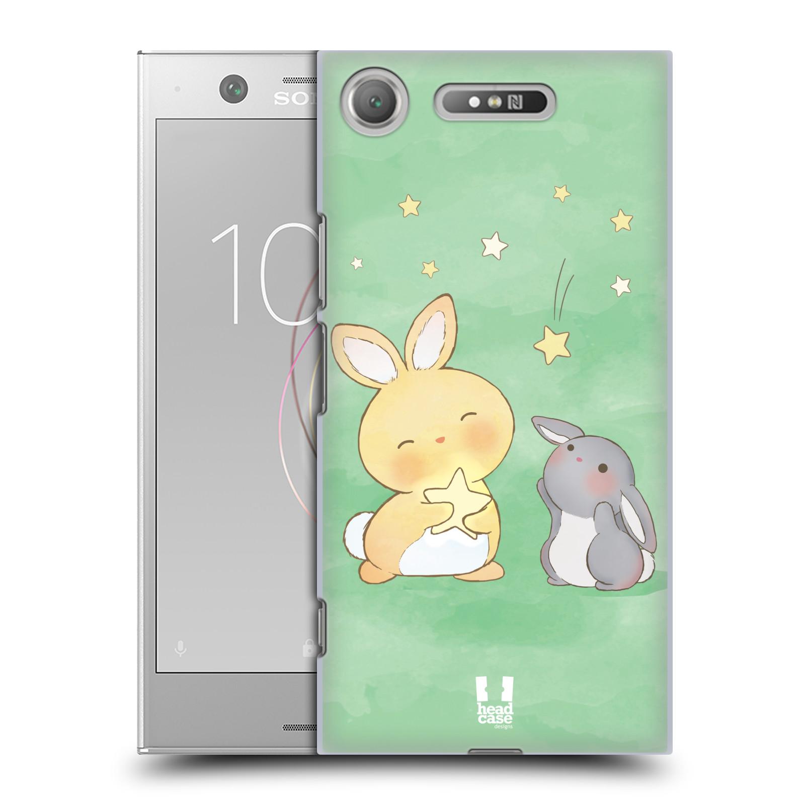 HEAD CASE plastový obal na mobil Sony Xperia XZ1 vzor králíček a hvězdy zelená