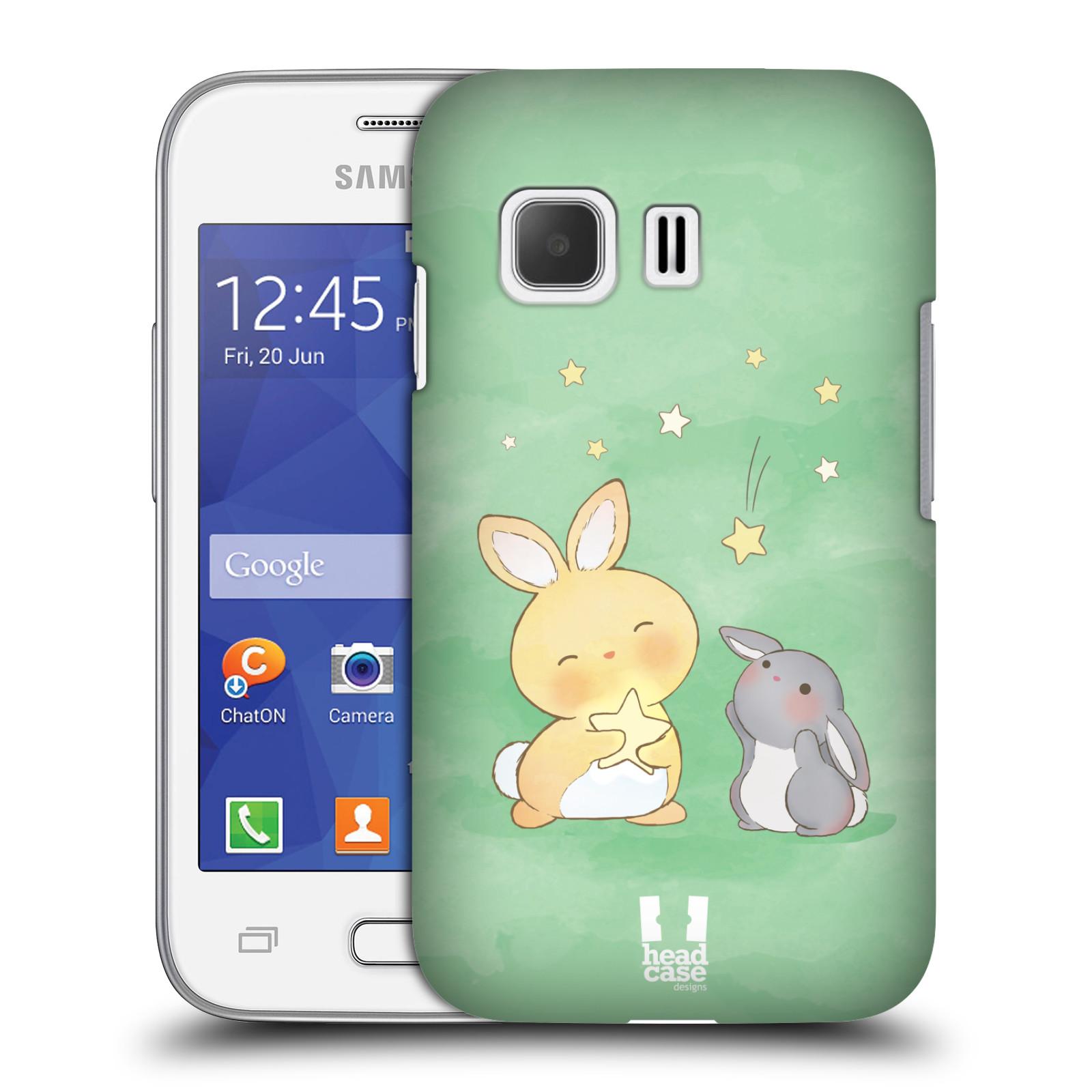 HEAD CASE plastový obal na mobil SAMSUNG Galaxy Young 2 (G130) vzor králíček a hvězdy zelená