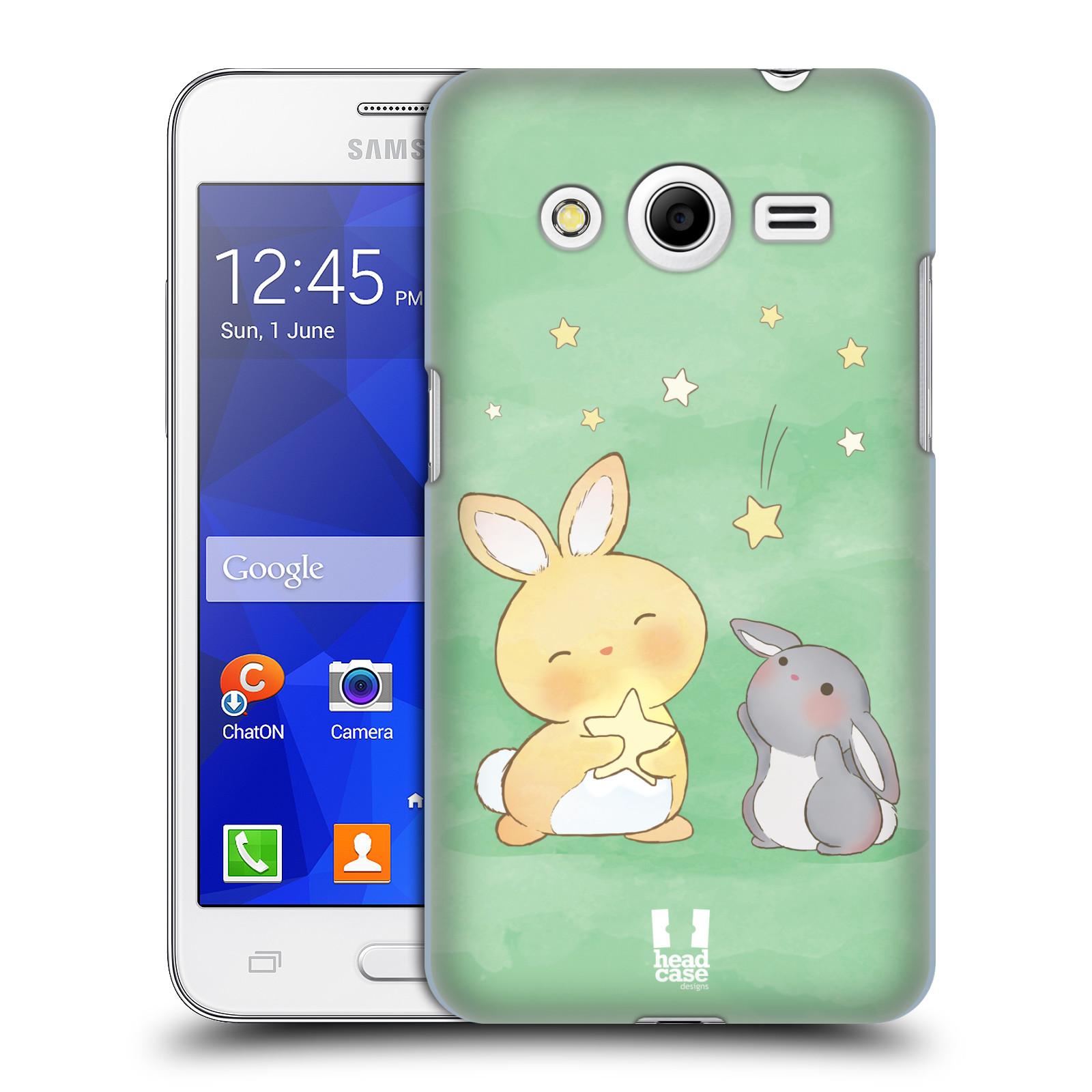 HEAD CASE plastový obal na mobil SAMSUNG GALAXY Core 2 (G355H) vzor králíček a hvězdy zelená