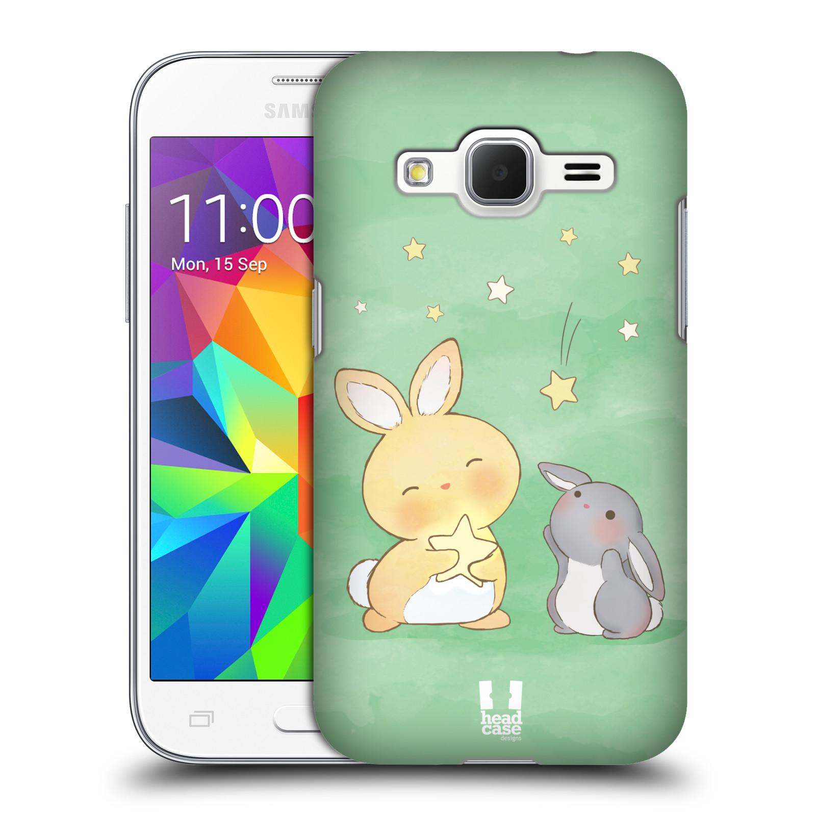 HEAD CASE plastový obal na mobil SAMSUNG GALAXY Core Prime (Core Prime VE) vzor králíček a hvězdy zelená