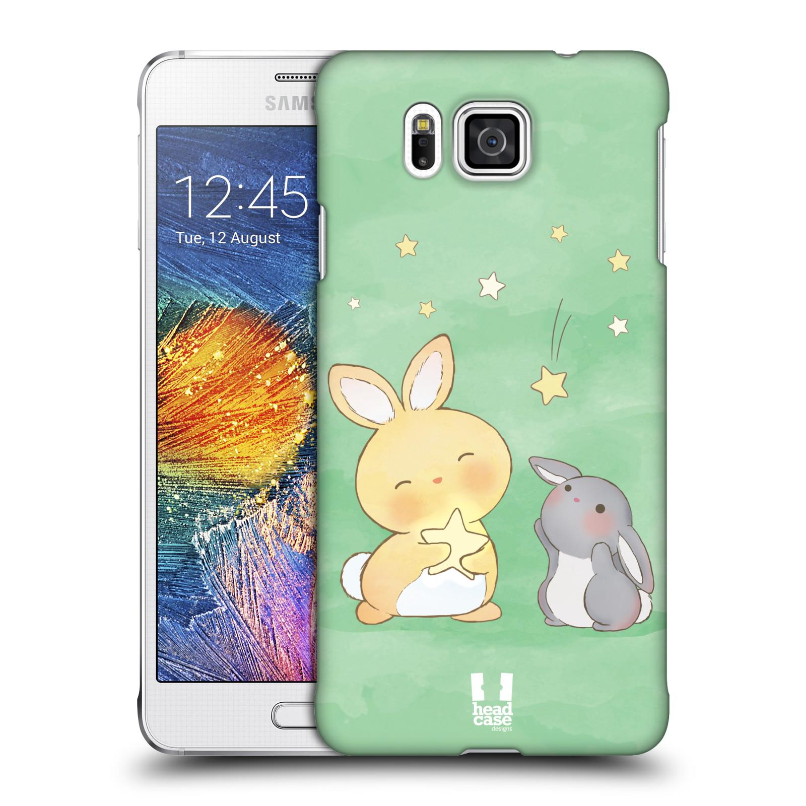 HEAD CASE plastový obal na mobil SAMSUNG Galaxy Alpha (G850) vzor králíček a hvězdy zelená