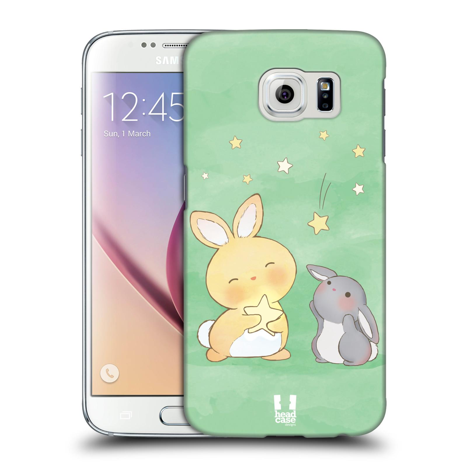 HEAD CASE plastový obal na mobil SAMSUNG Galaxy S6 (G9200, G920F) vzor králíček a hvězdy zelená