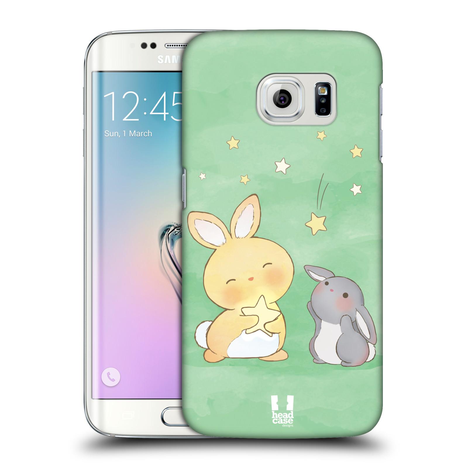 HEAD CASE plastový obal na mobil SAMSUNG Galaxy S6 EDGE (G9250, G925, G925F) vzor králíček a hvězdy zelená