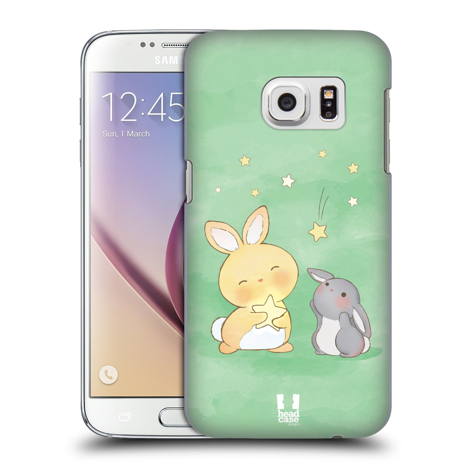 HEAD CASE plastový obal na mobil SAMSUNG GALAXY S7 vzor králíček a hvězdy zelená