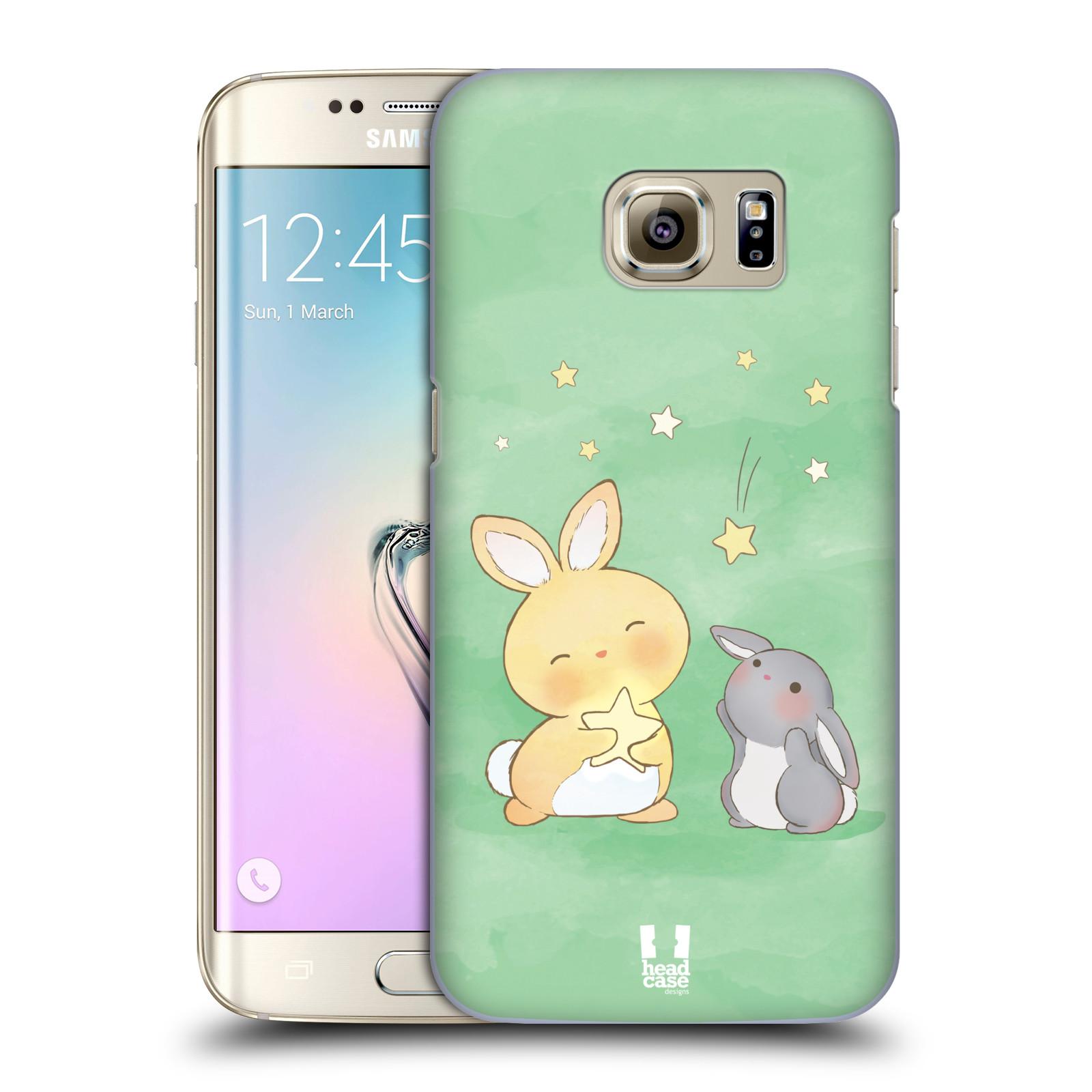 HEAD CASE plastový obal na mobil SAMSUNG GALAXY S7 EDGE vzor králíček a hvězdy zelená