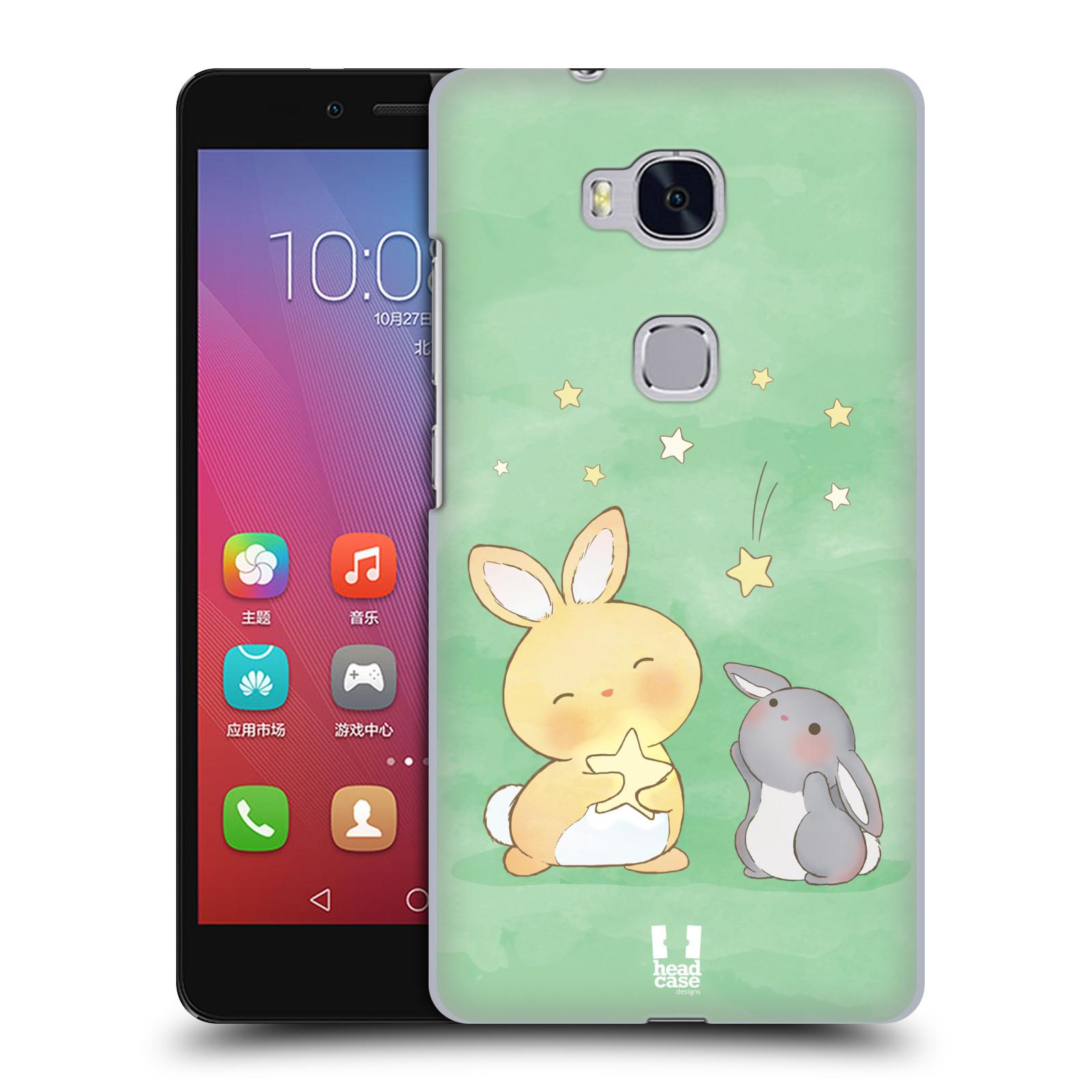 HEAD CASE pevný plastový obal na mobil HUAWEI HONOR 5X vzor králíček a hvězdy zelená