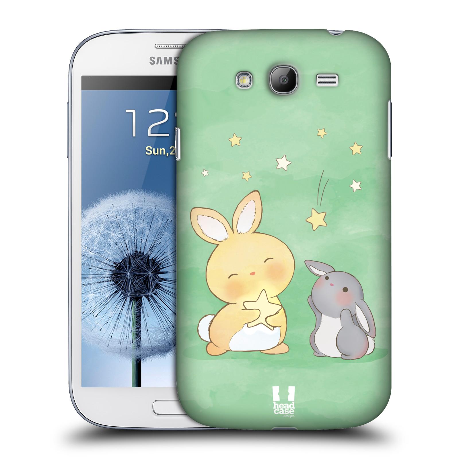 HEAD CASE plastový obal na mobil SAMSUNG GALAXY Grand i9080 vzor králíček a hvězdy zelená