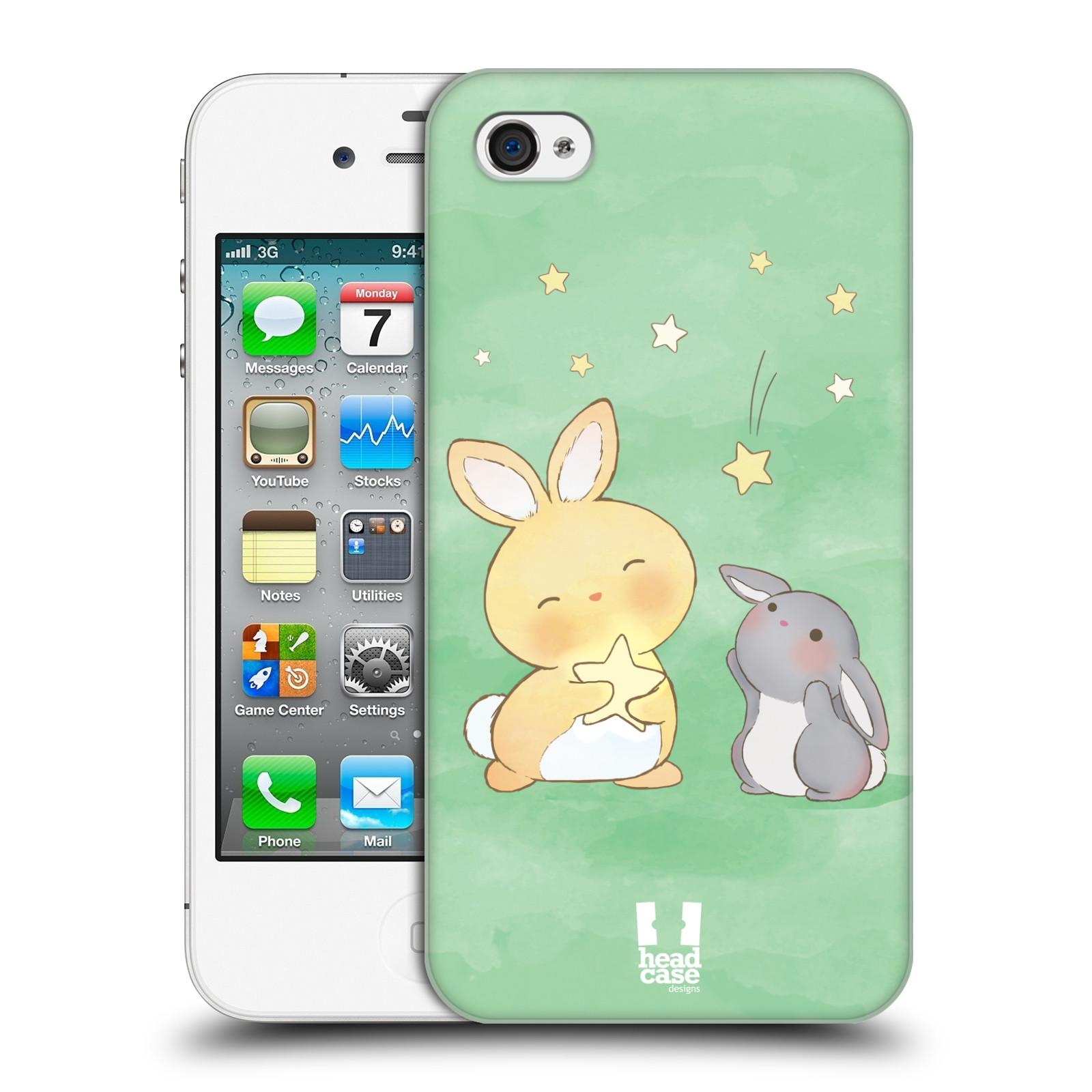 HEAD CASE plastový obal na mobil Apple Iphone 4/4S vzor králíček a hvězdy zelená