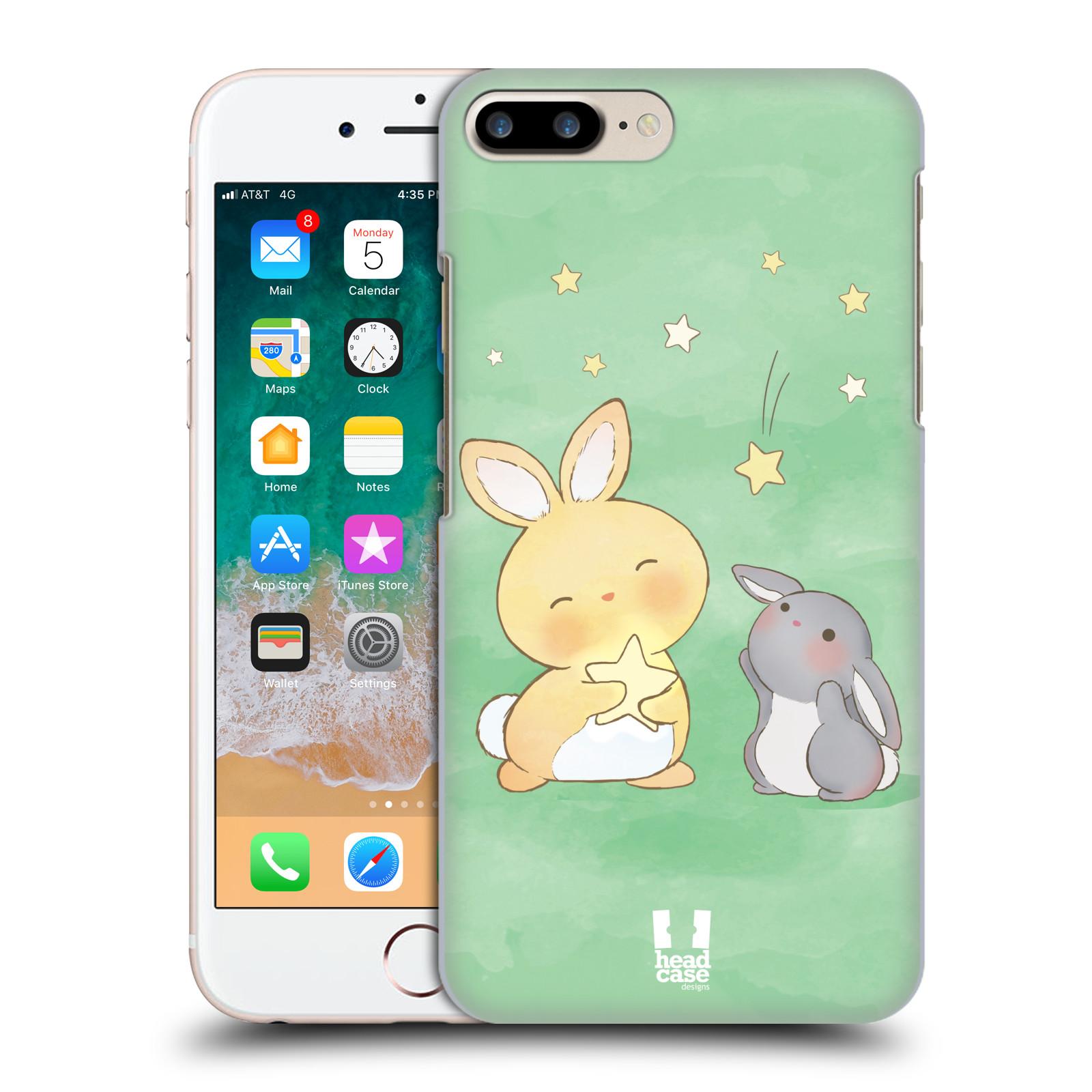 HEAD CASE plastový obal na mobil Apple Iphone 7 PLUS vzor králíček a hvězdy zelená