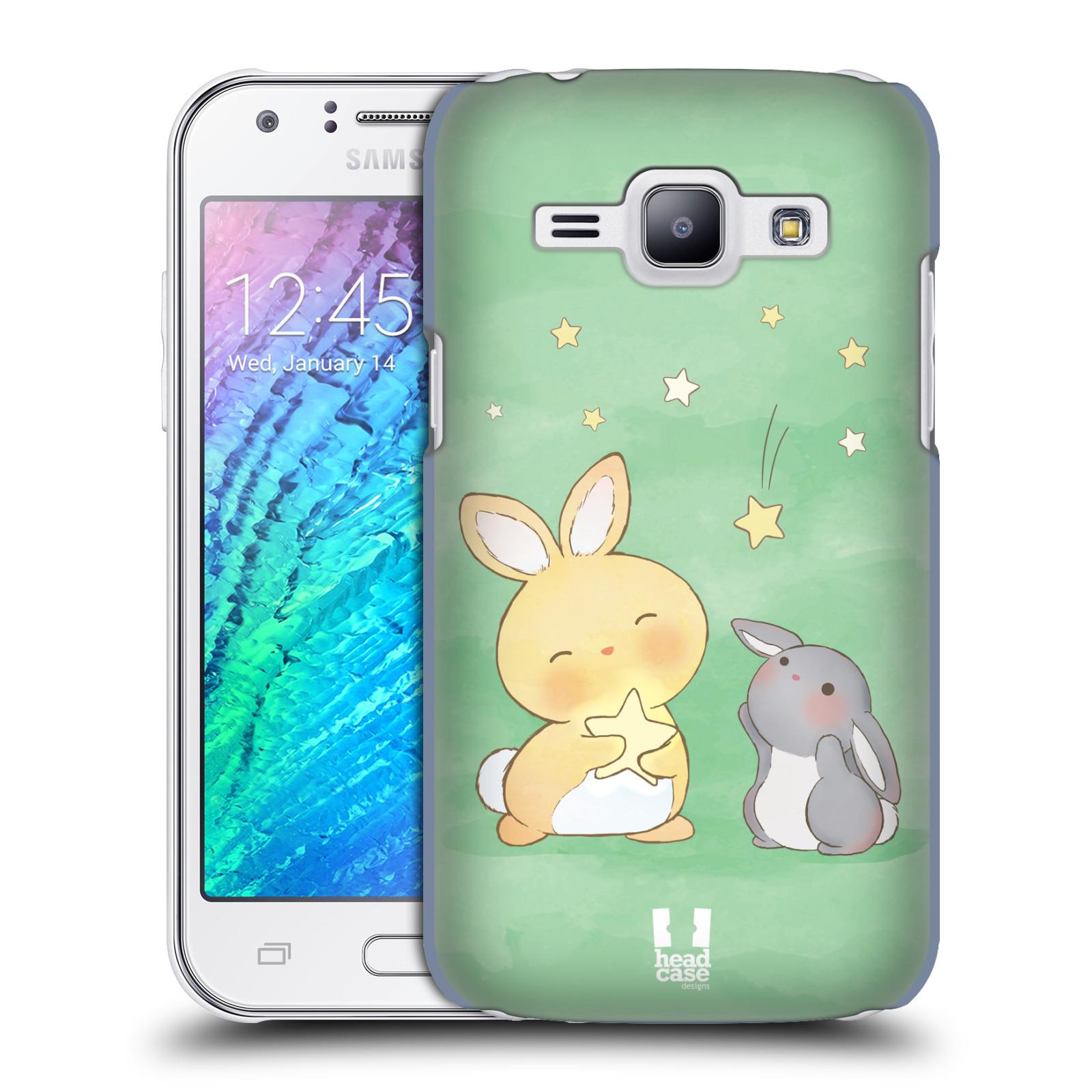 HEAD CASE plastový obal na mobil SAMSUNG Galaxy J1, J100 vzor králíček a hvězdy zelená