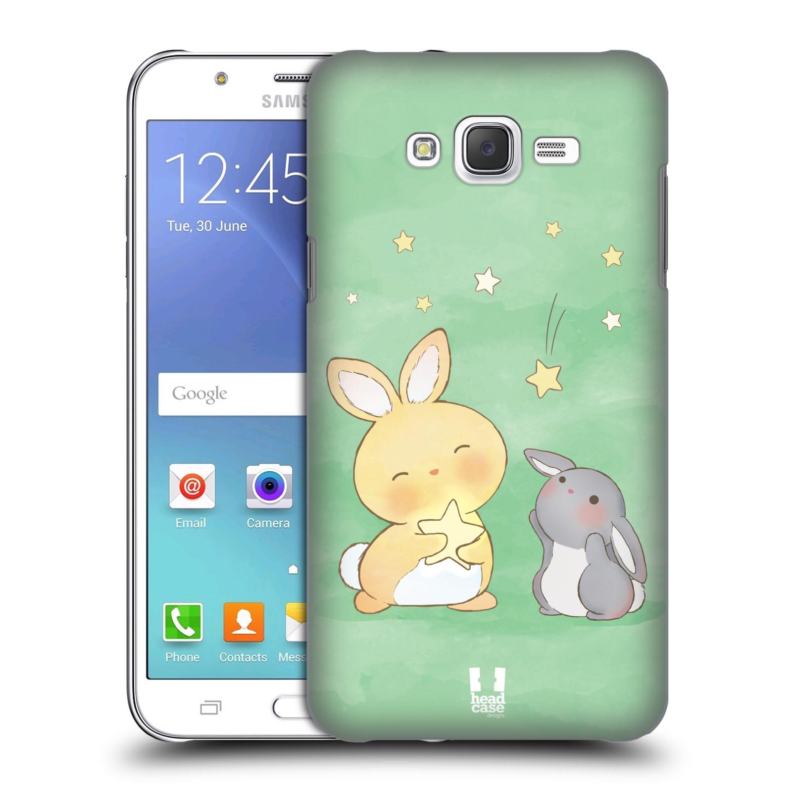 HEAD CASE plastový obal na mobil SAMSUNG Galaxy J7, J700 vzor králíček a hvězdy zelená