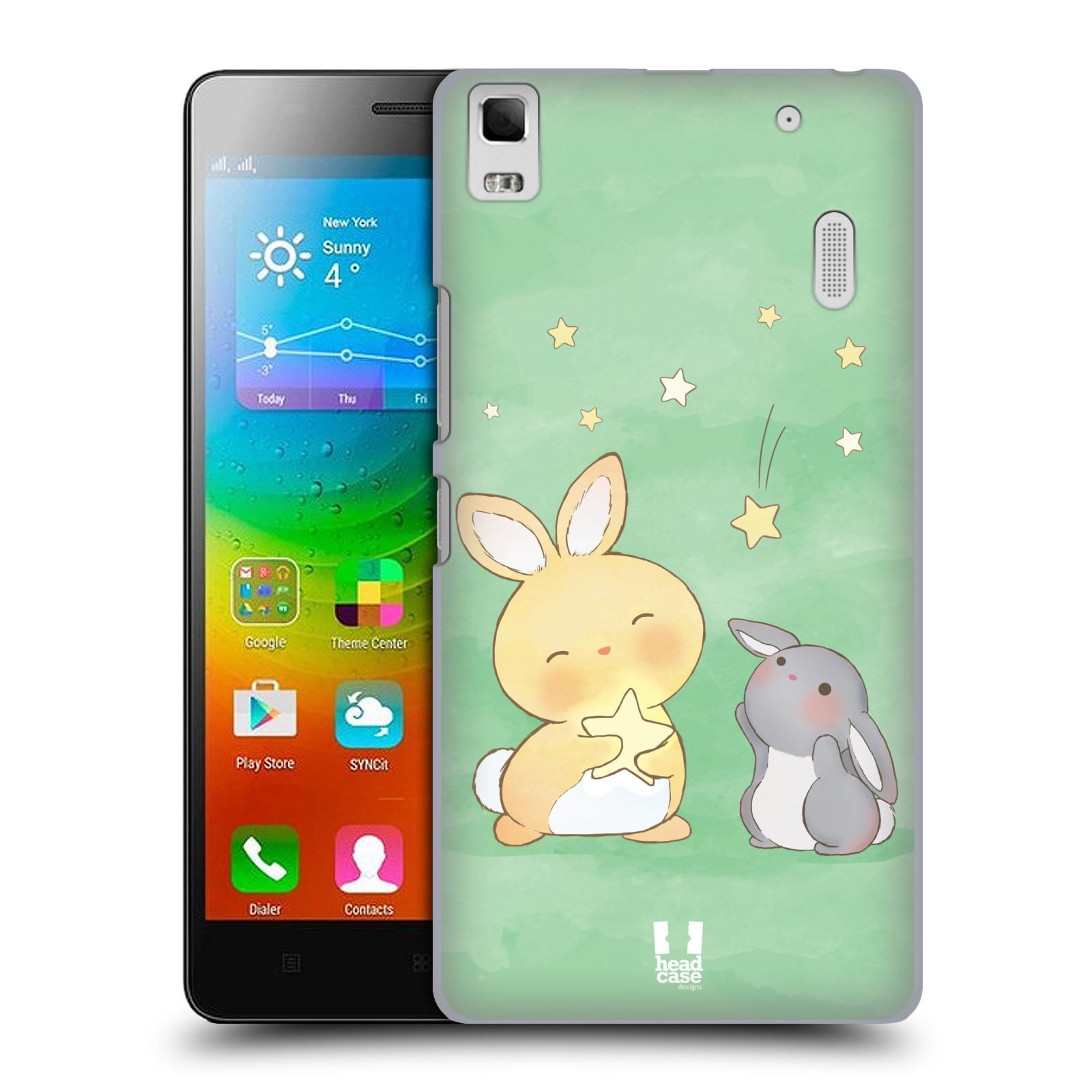 HEAD CASE pevný plastový obal na mobil LENOVO A7000 / A7000 DUAL / K3 NOTE vzor králíček a hvězdy zelená
