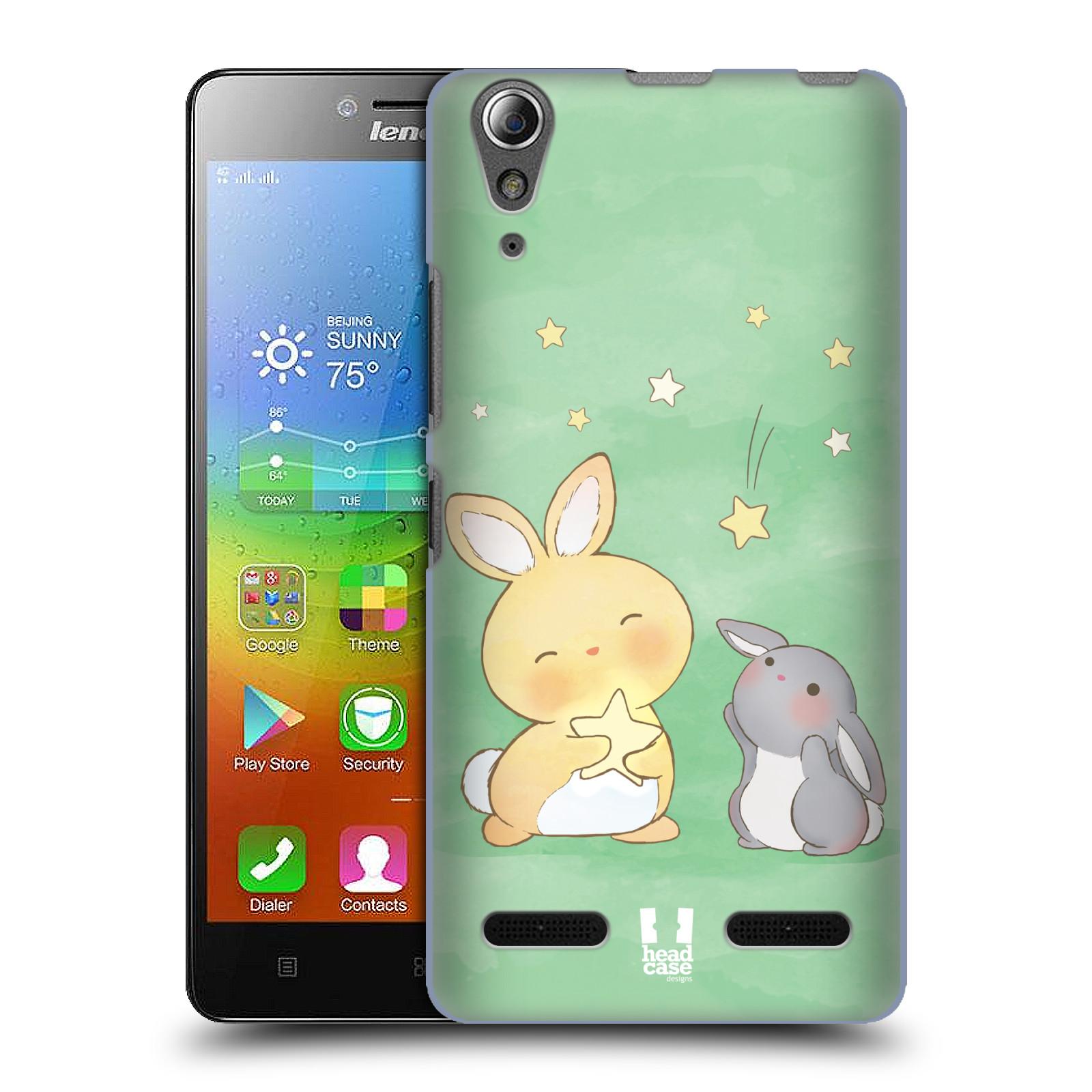 HEAD CASE pevný plastový obal na mobil LENOVO A6000 / A6000 PLUS vzor králíček a hvězdy zelená