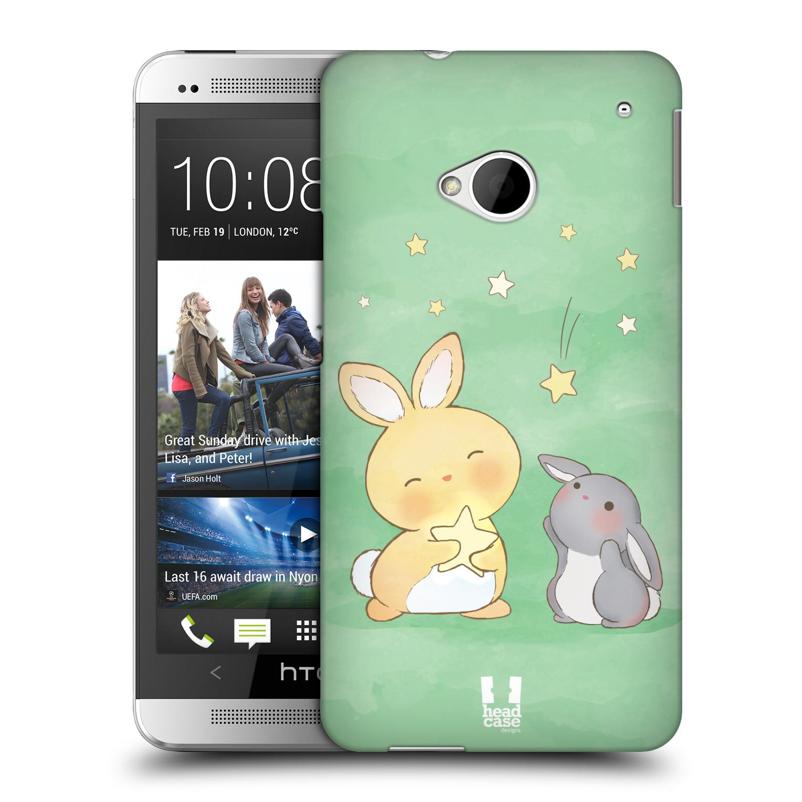 HEAD CASE plastový obal na mobil HTC One (M7) vzor králíček a hvězdy zelená