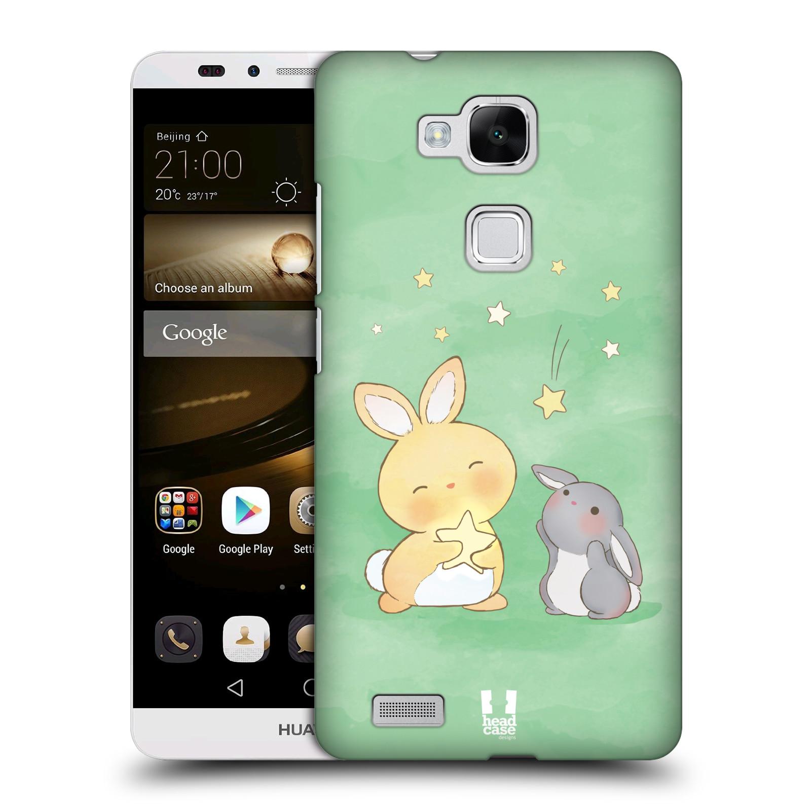 HEAD CASE plastový obal na mobil Huawei Mate 7 vzor králíček a hvězdy zelená
