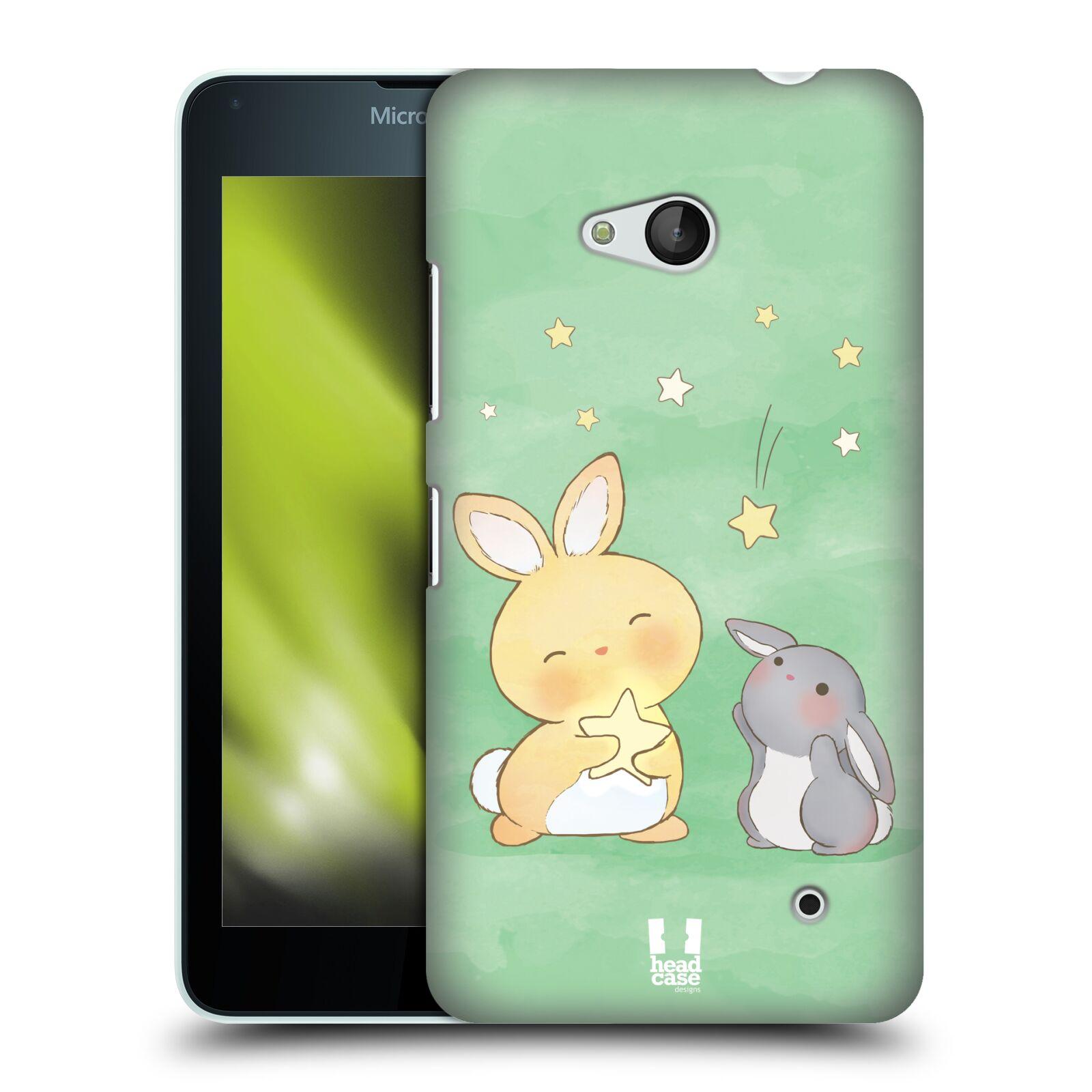 HEAD CASE plastový obal na mobil Nokia Lumia 640 vzor králíček a hvězdy zelená