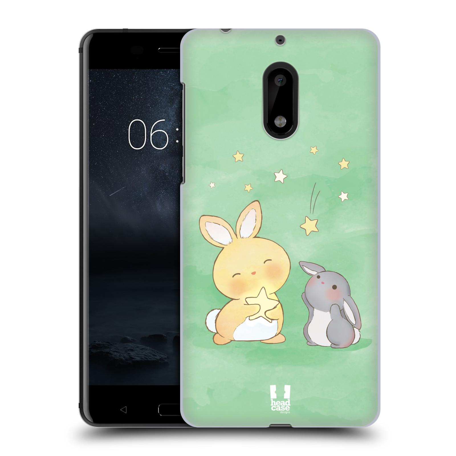 HEAD CASE plastový obal na mobil Nokia 6 vzor králíček a hvězdy zelená
