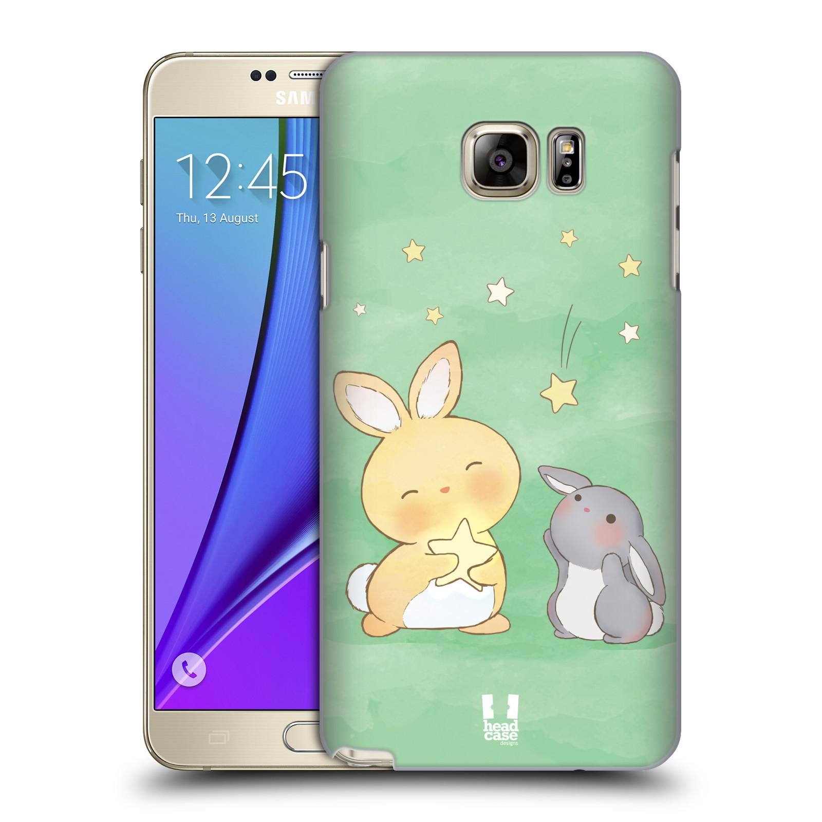 HEAD CASE plastový obal na mobil SAMSUNG Galaxy Note 5 (N920) vzor králíček a hvězdy zelená