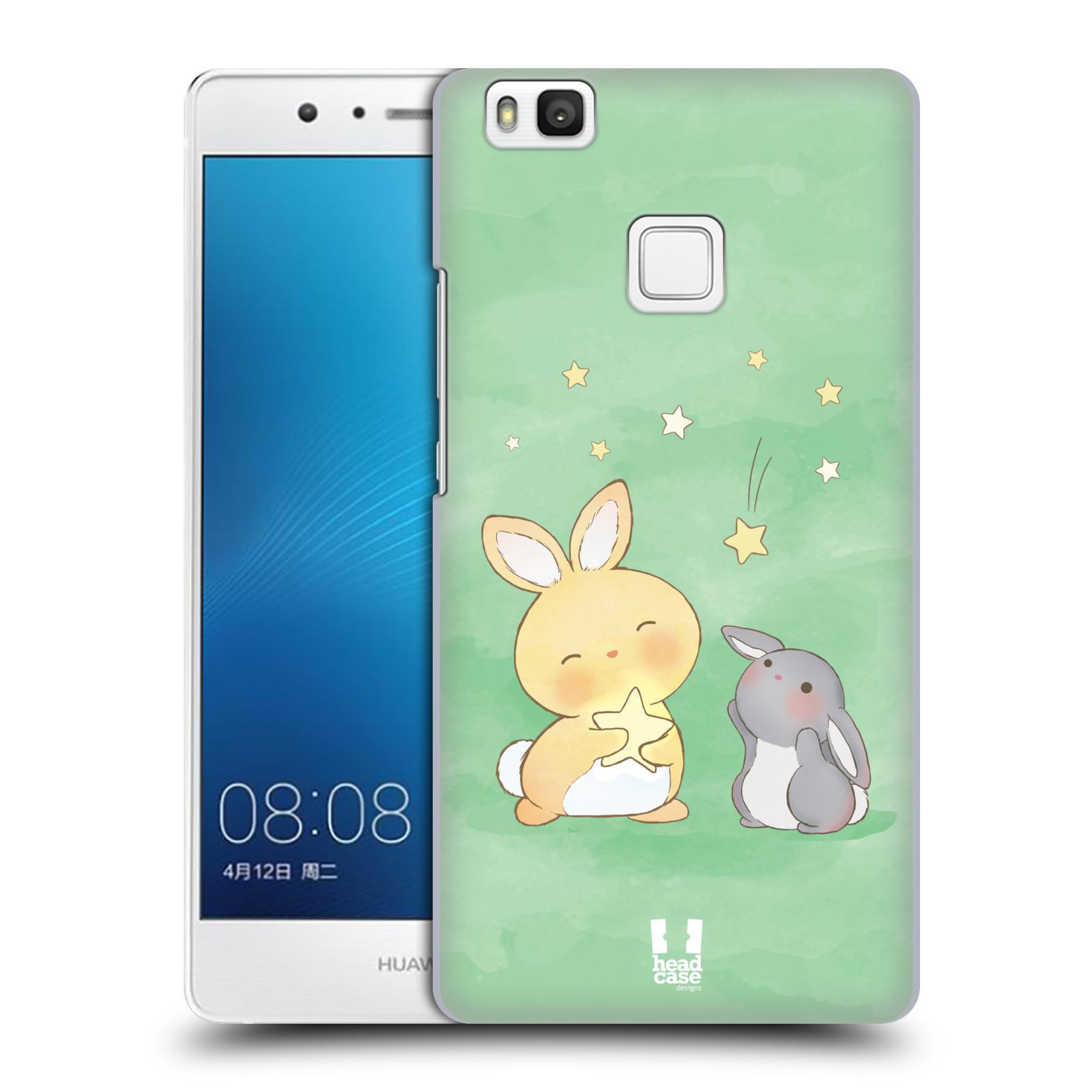 HEAD CASE plastový obal na mobil Huawei P9 LITE / P9 LITE DUAL SIM vzor králíček a hvězdy zelená