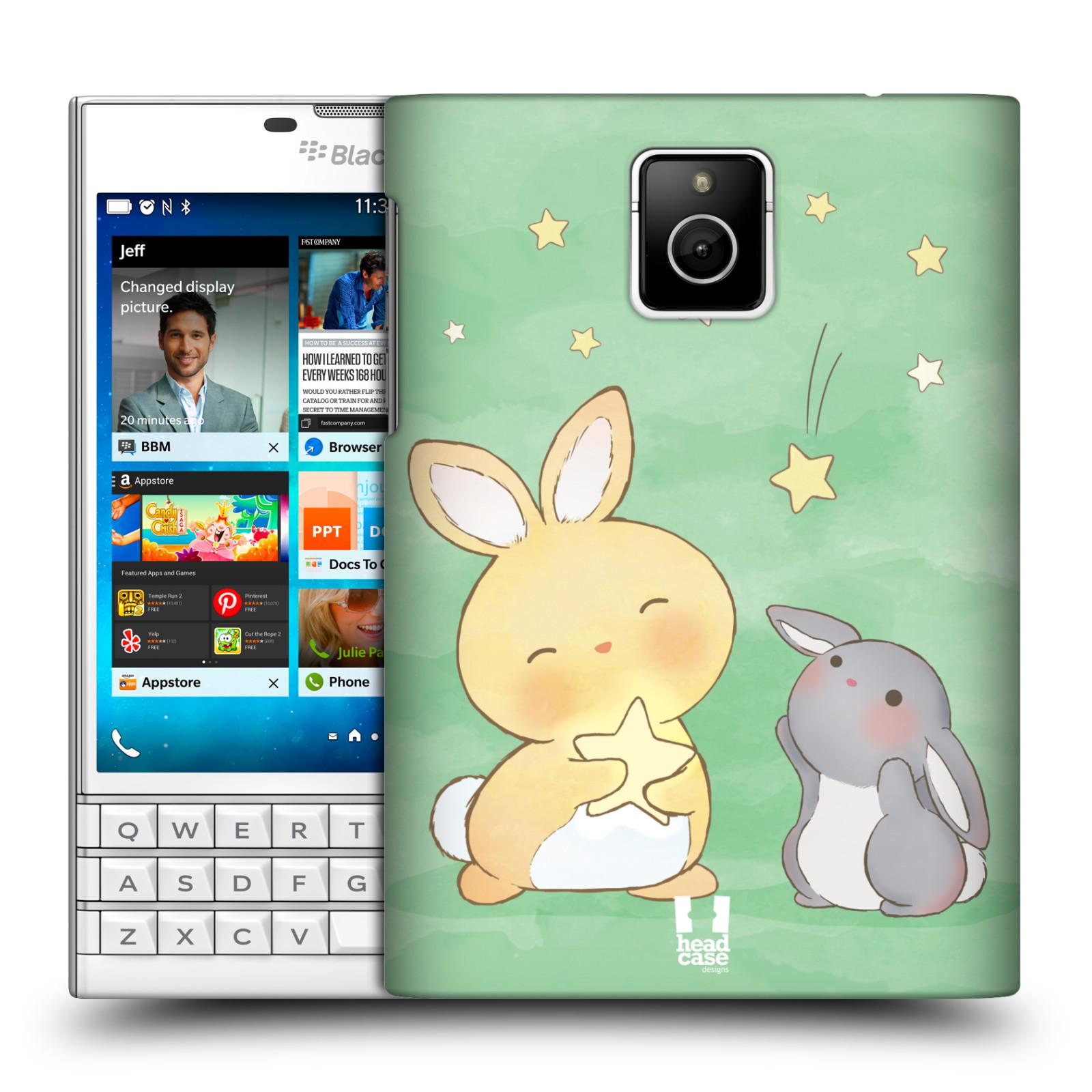 HEAD CASE plastový obal na mobil BlackBerry Passport vzor králíček a hvězdy zelená