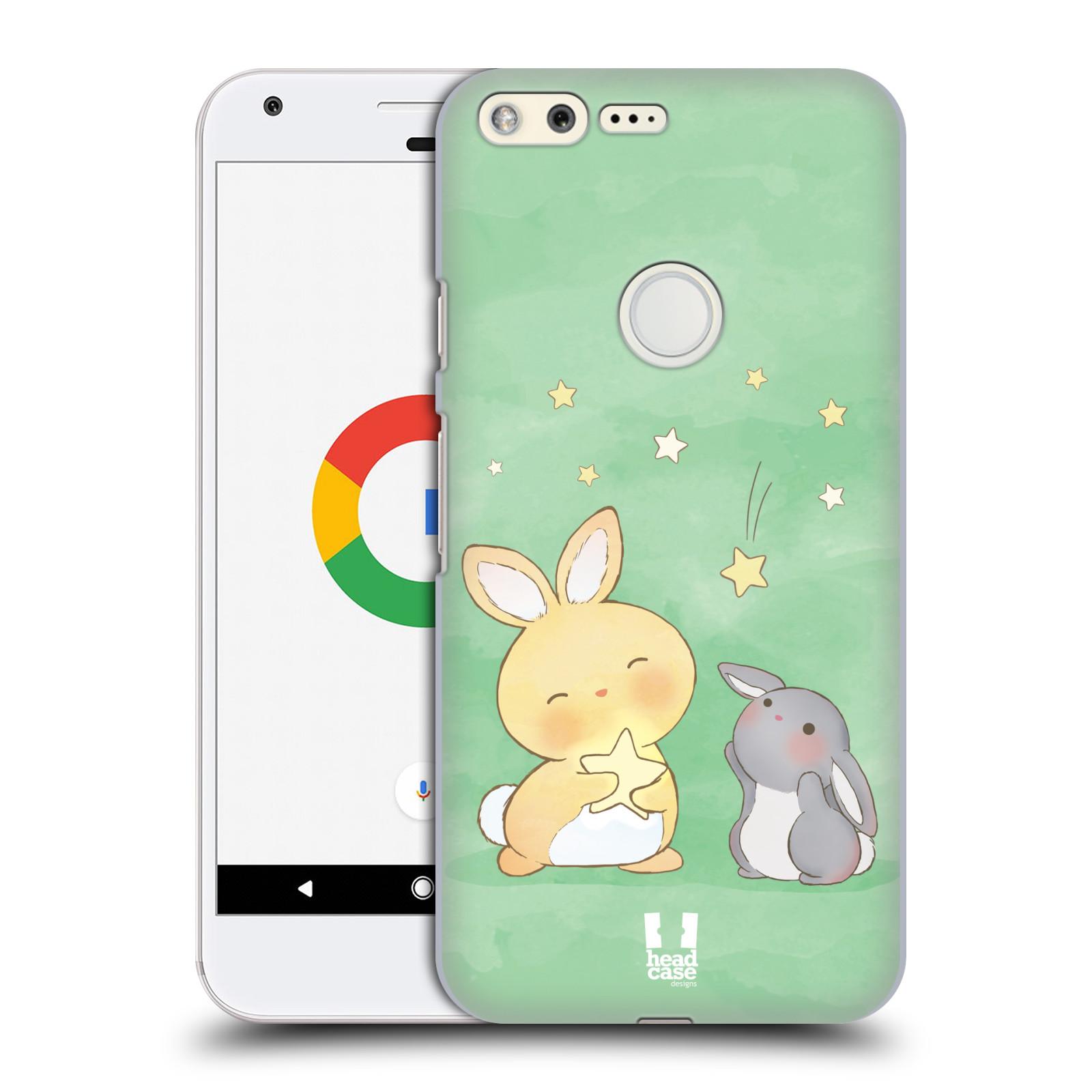 HEAD CASE plastový obal na mobil GOOGLE Pixel vzor králíček a hvězdy zelená