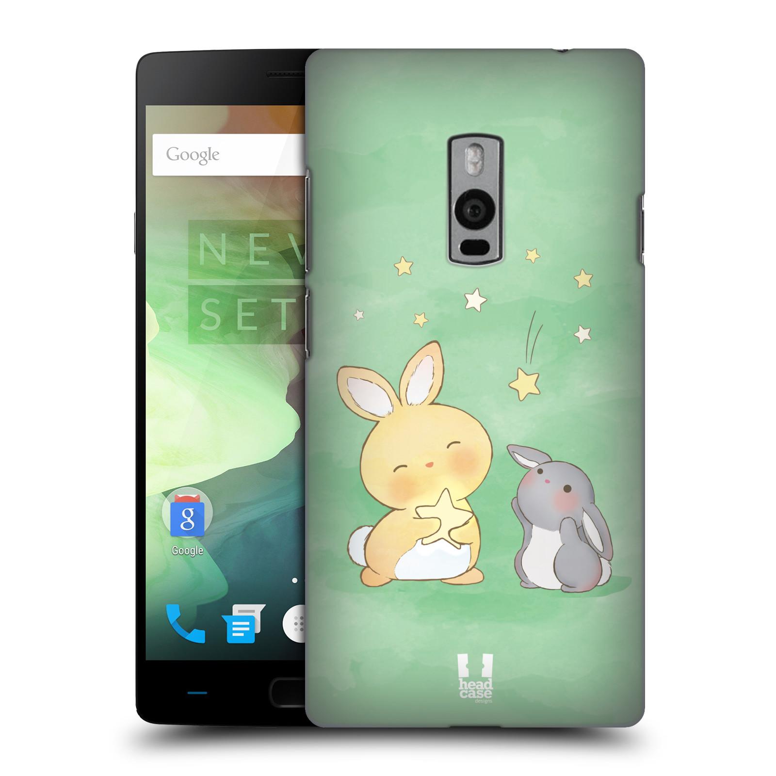 HEAD CASE pevný plastový obal na mobil OnePlus 2  ( TWO ) vzor králíček a hvězdy zelená