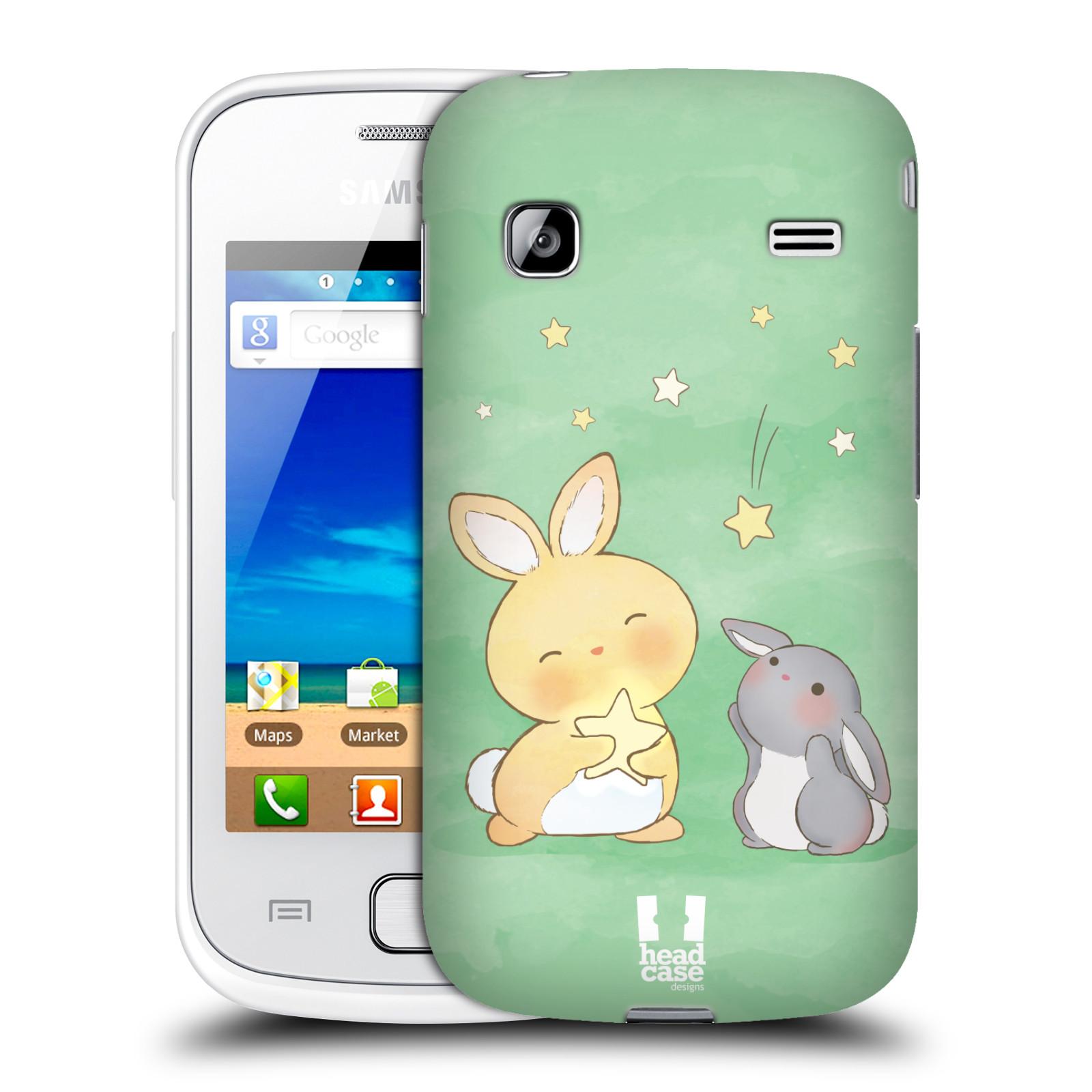 HEAD CASE plastový obal na mobil SAMSUNG GALAXY GIO (S5660) vzor králíček a hvězdy zelená