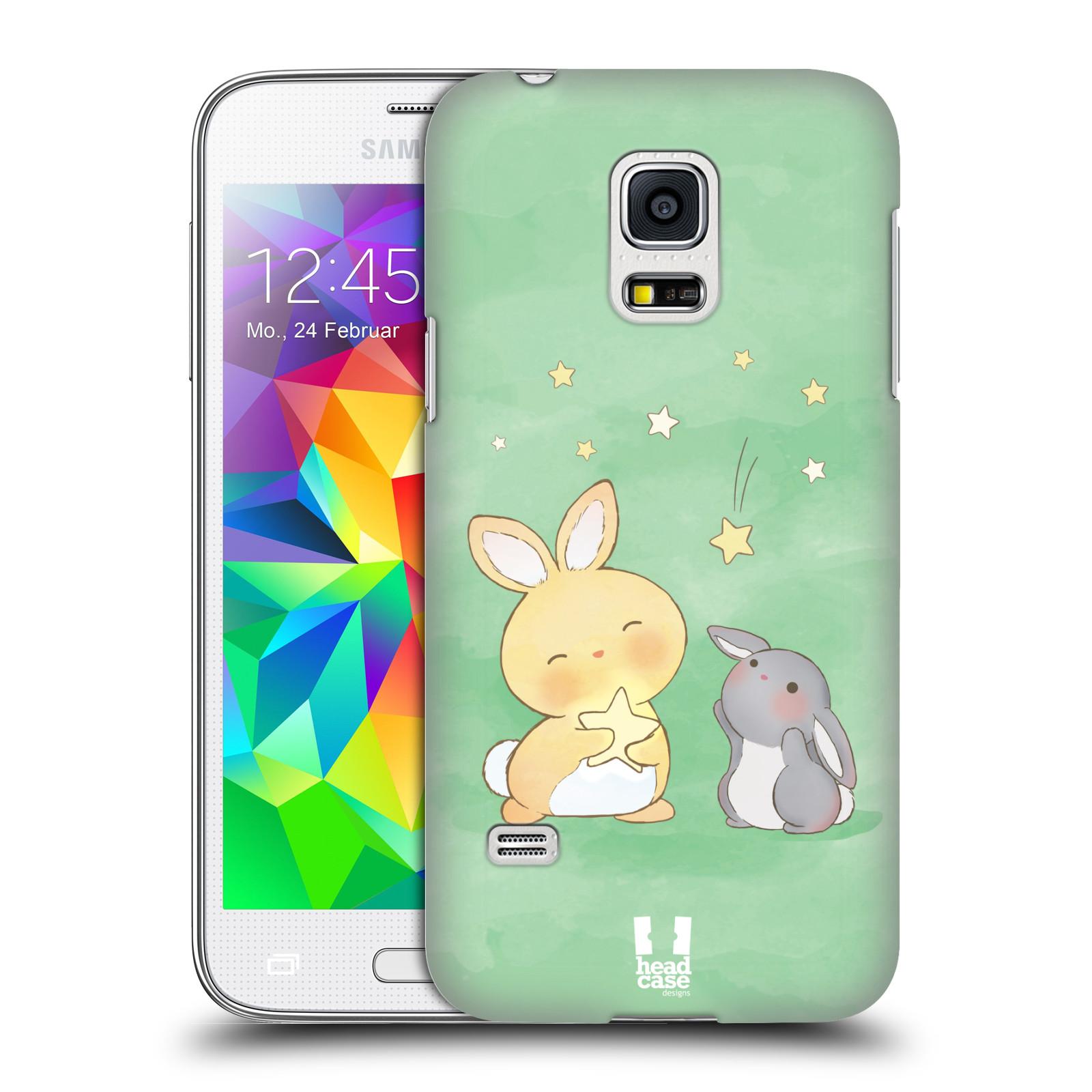 HEAD CASE plastový obal na mobil SAMSUNG Galaxy S5 MINI / S5 MINI DUOS vzor králíček a hvězdy zelená