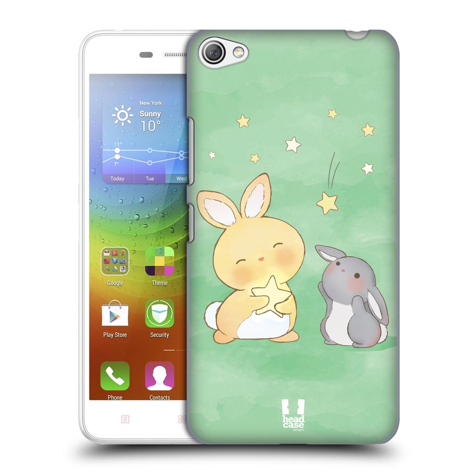 HEAD CASE pevný plastový obal na mobil LENOVO S60 / LENOVO S60 DUAL SIM vzor králíček a hvězdy zelená