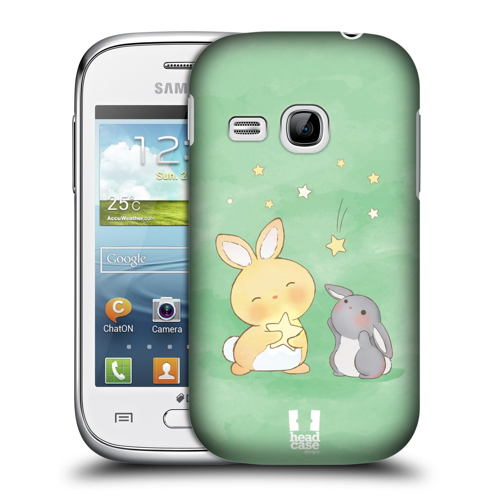 HEAD CASE plastový obal na mobil SAMSUNG Galaxy Young S6310 vzor králíček a hvězdy zelená