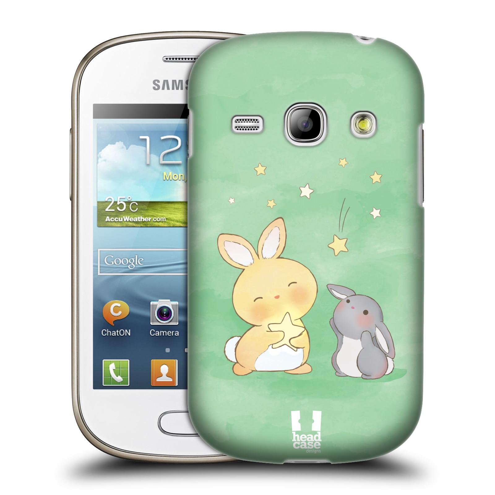 HEAD CASE plastový obal na mobil SAMSUNG GALAXY FAME (S6810) vzor králíček a hvězdy zelená