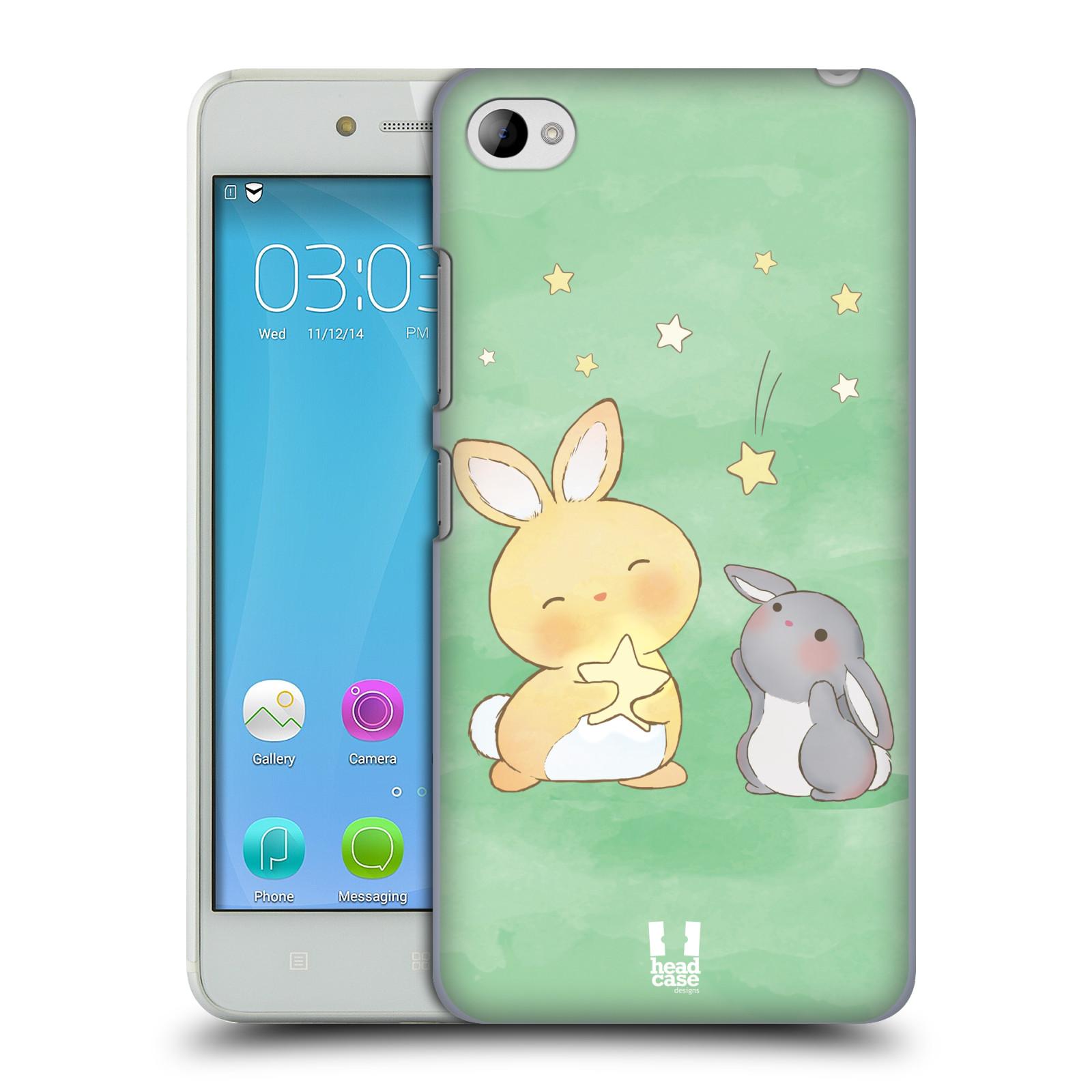 HEAD CASE pevný plastový obal na mobil LENOVO S90 vzor králíček a hvězdy zelená