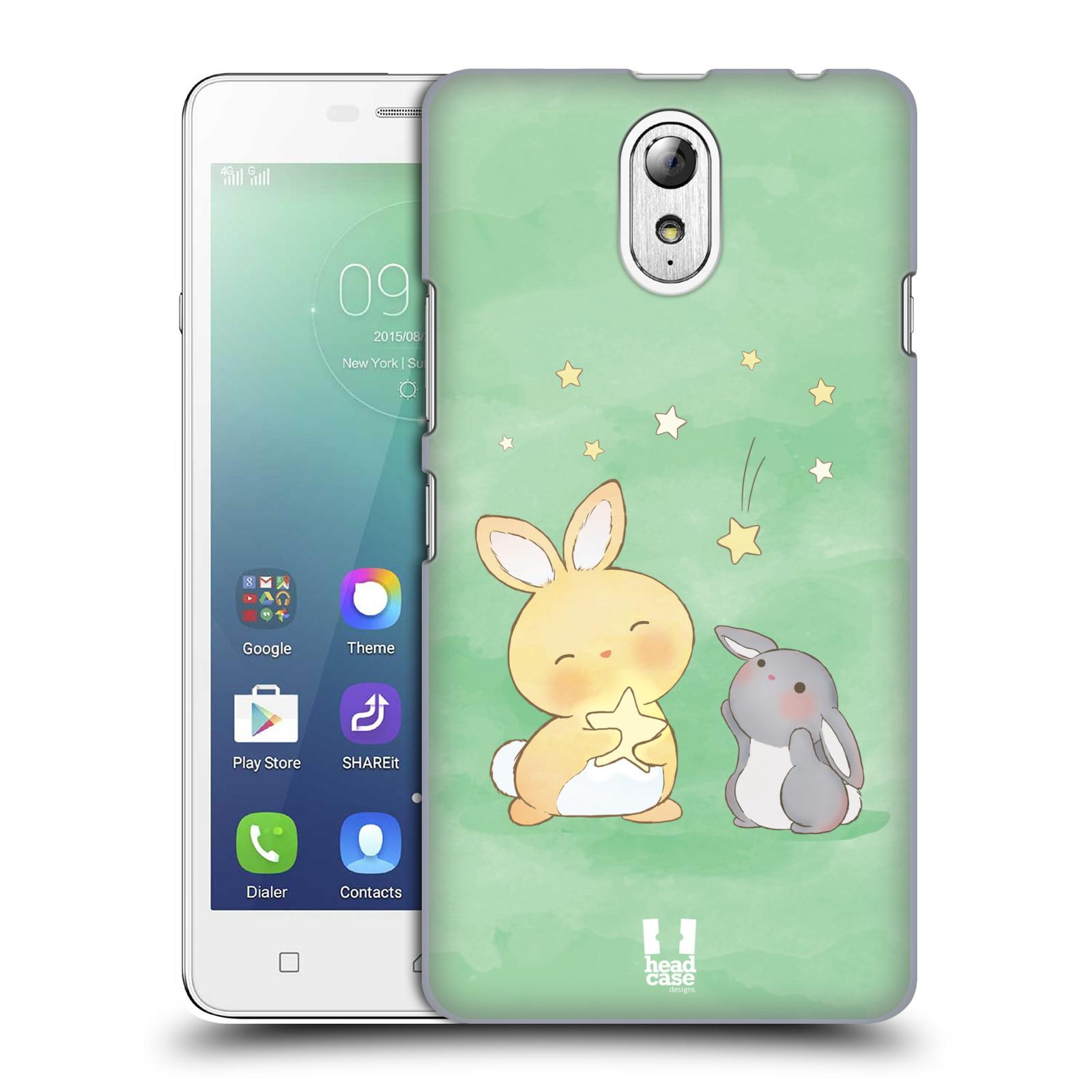HEAD CASE pevný plastový obal na mobil LENOVO VIBE P1m / LENOVO VIBE p1m DUAL SIM vzor králíček a hvězdy zelená
