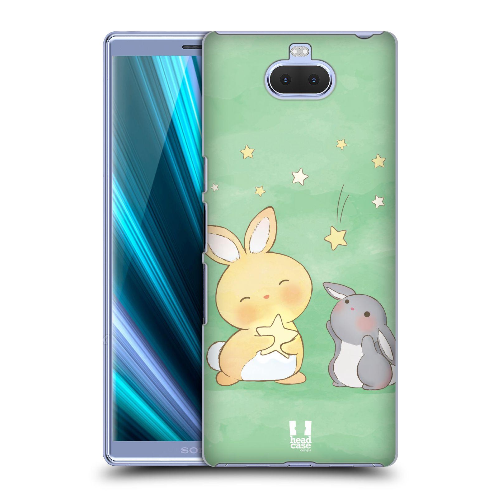 Pouzdro na mobil Sony Xperia 10 - Head Case - vzor králíček a hvězdy zelená