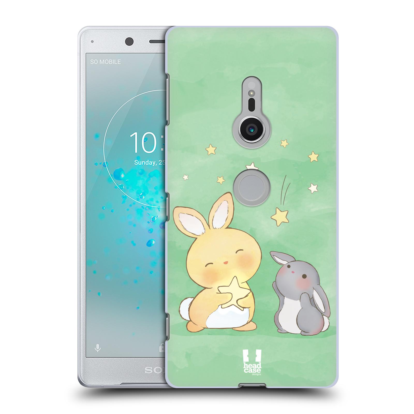 HEAD CASE plastový obal na mobil Sony Xperia XZ2 vzor králíček a hvězdy zelená