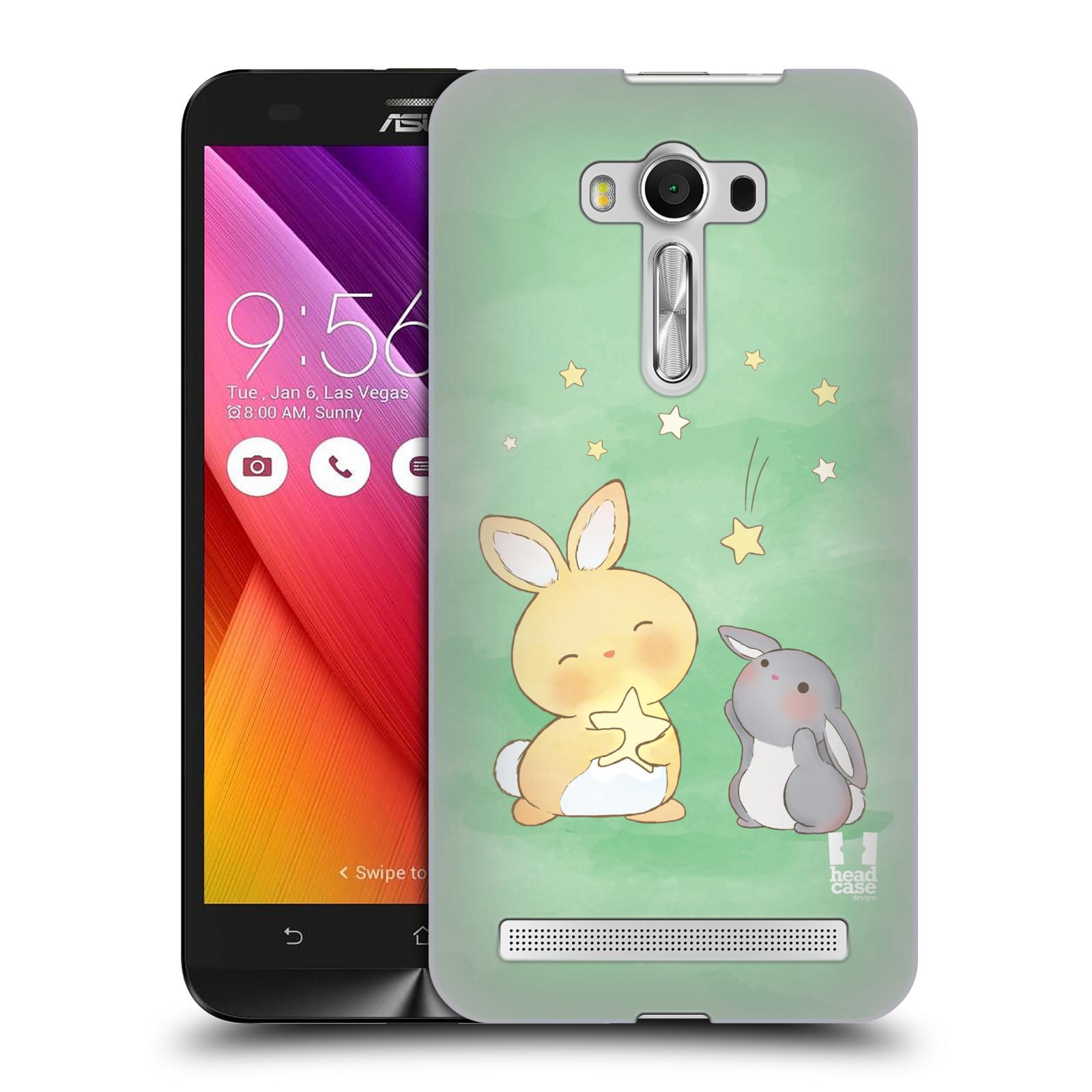 HEAD CASE plastový obal na mobil Asus Zenfone 2 LASER (5,5 displej ZE550KL) vzor králíček a hvězdy zelená