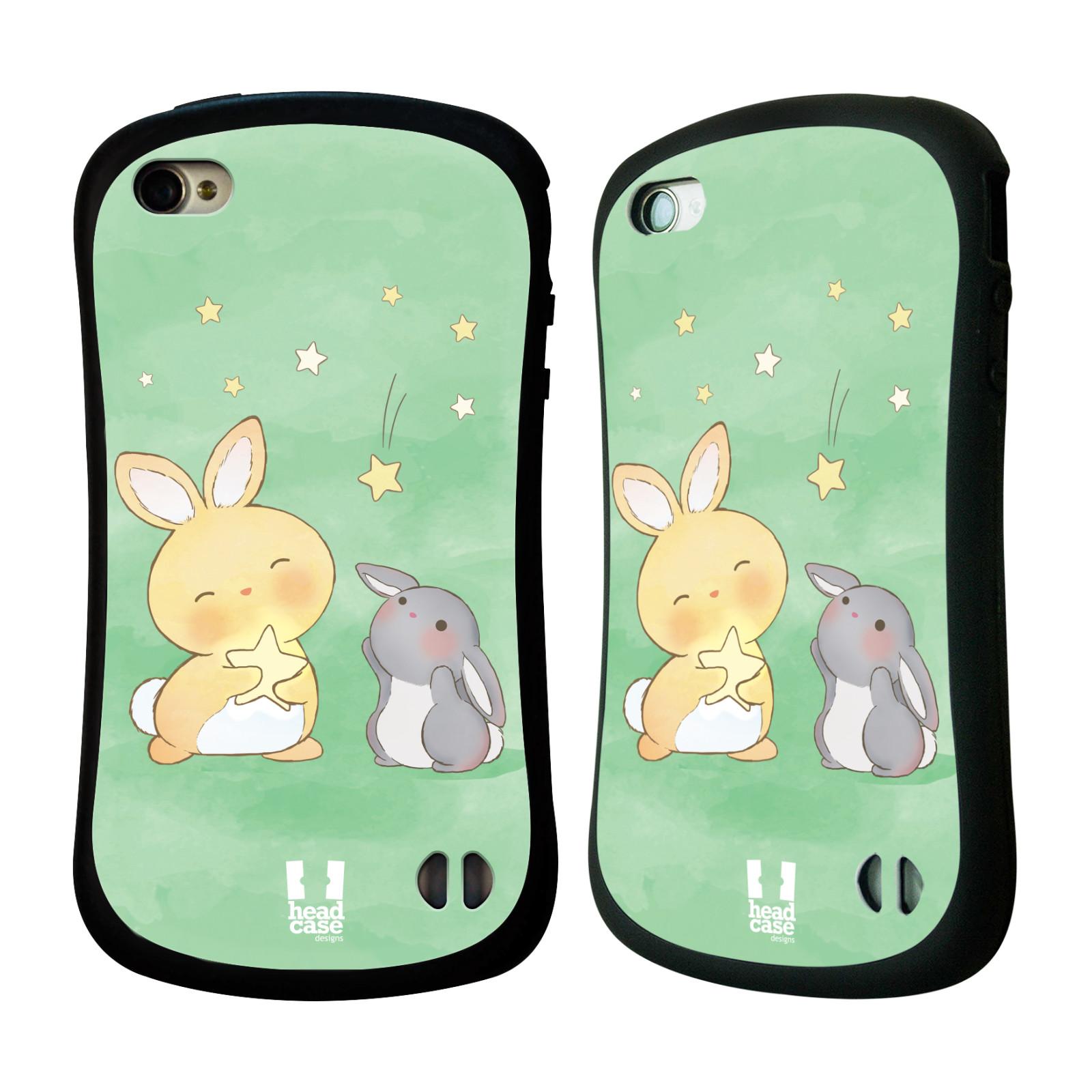 HEAD CASE silikon/plast odolný obal na mobil Apple Iphone 4/4S vzor králíček a hvězdy zelená