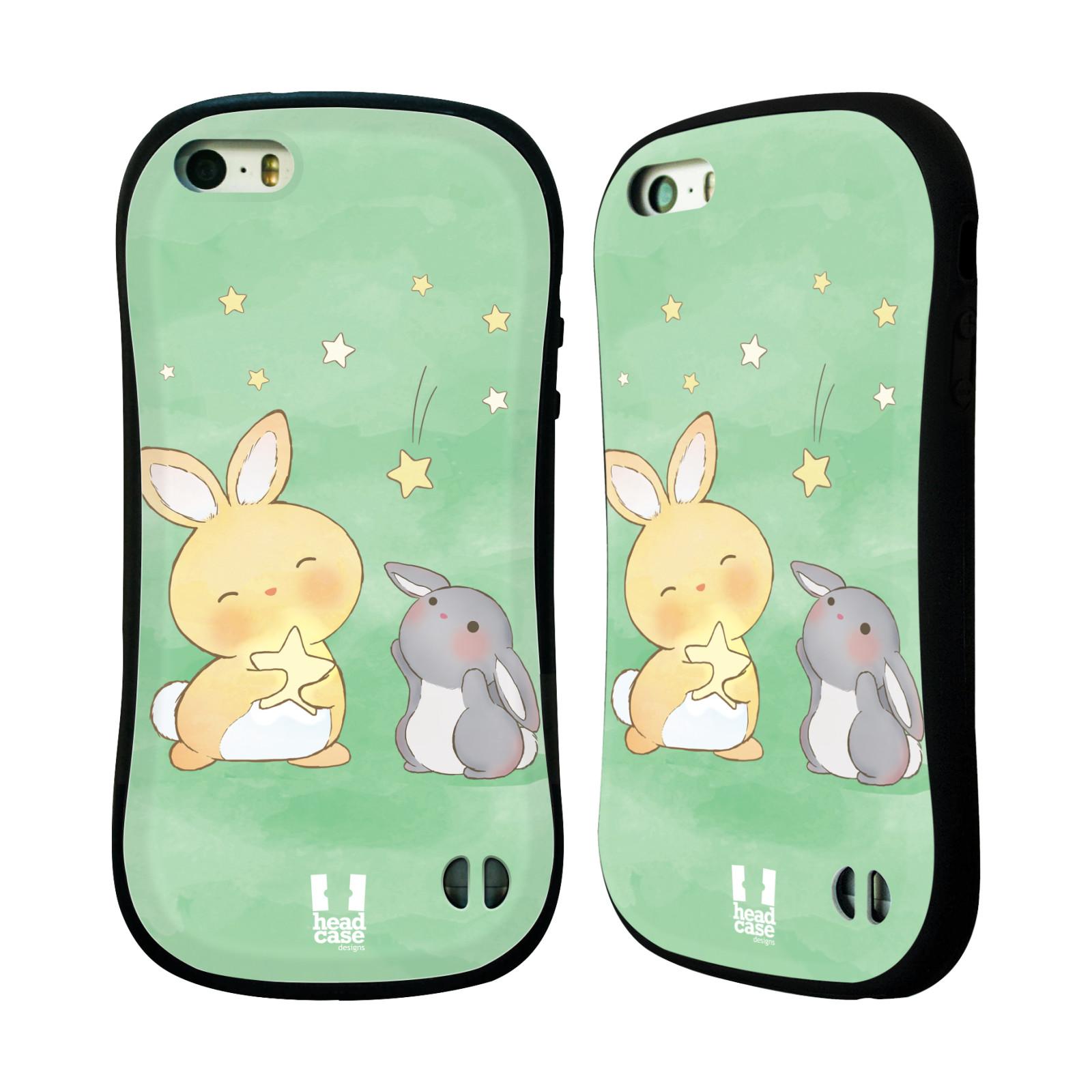 HEAD CASE silikon/plast odolný obal na mobil Apple Iphone 5/5S vzor králíček a hvězdy zelená