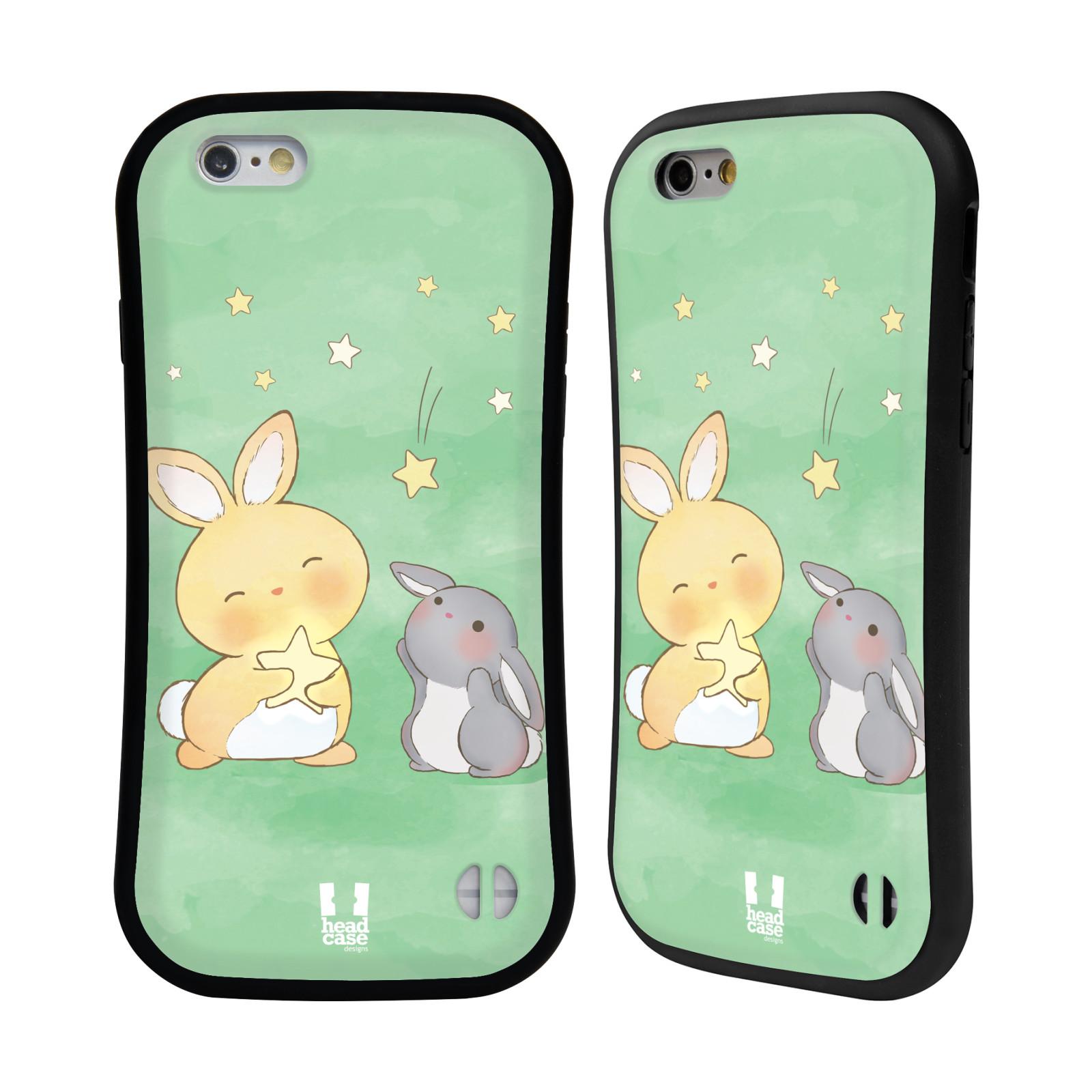HEAD CASE silikon/plast odolný obal na mobil Apple Iphone 6/6S vzor králíček a hvězdy zelená