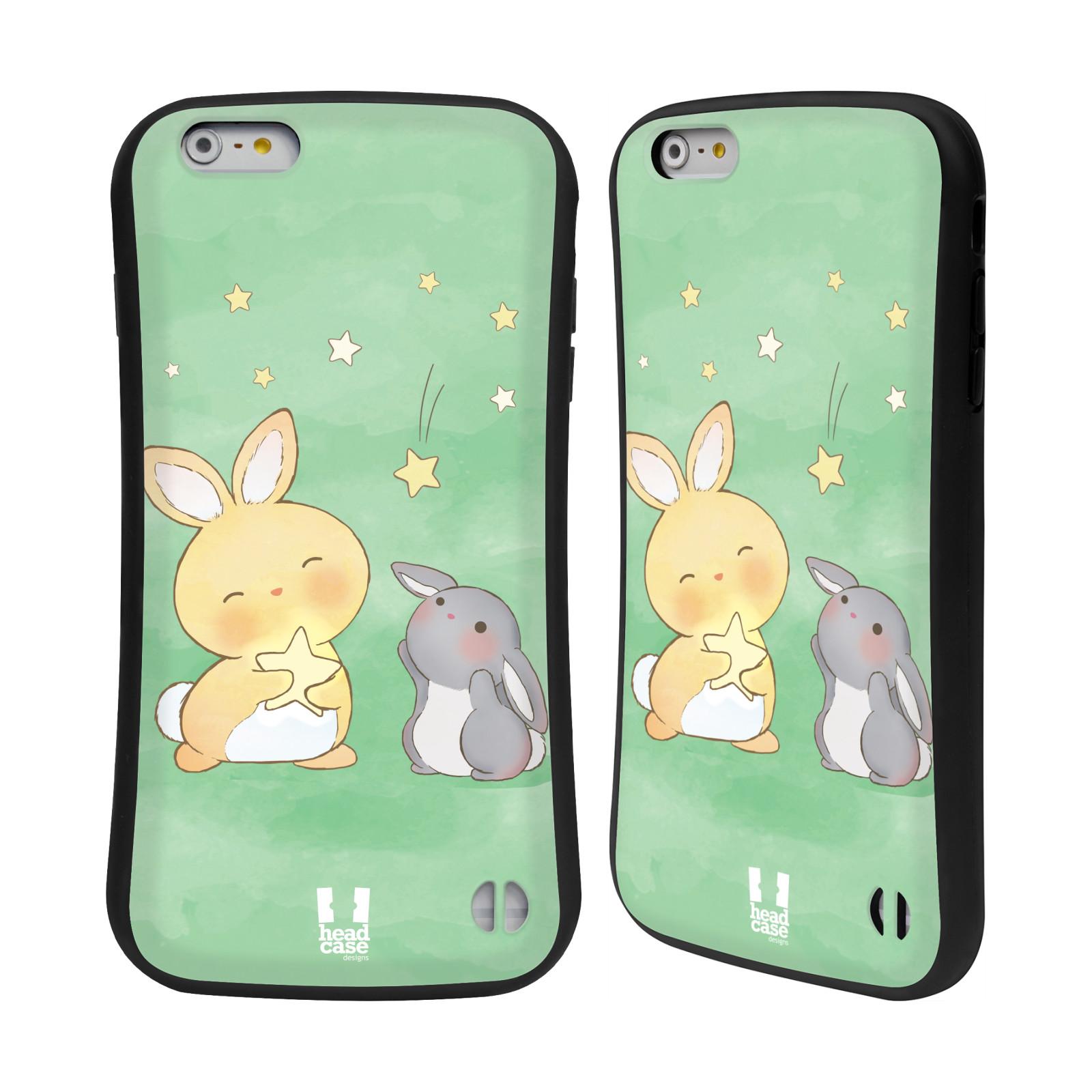 HEAD CASE silikon/plast odolný obal na mobil Apple Iphone 6 PLUS / 6S PLUS vzor králíček a hvězdy zelená