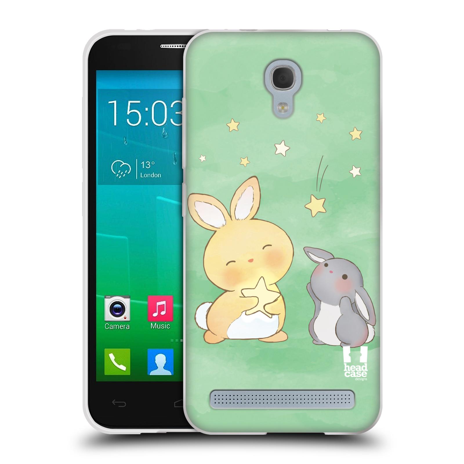 HEAD CASE silikonový obal na mobil Alcatel Idol 2 MINI S 6036Y vzor králíček a hvězdy zelená
