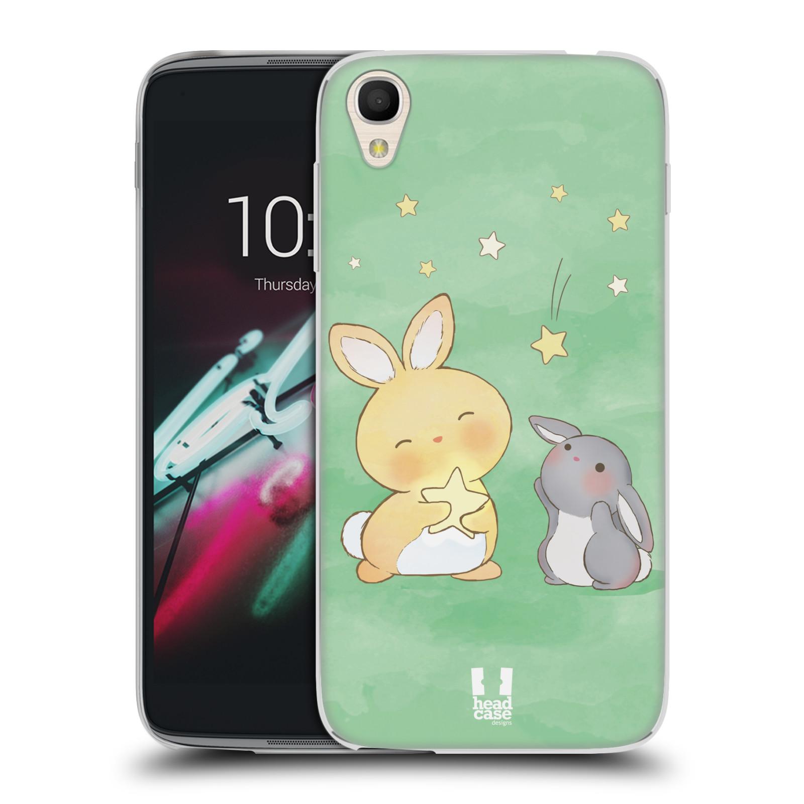 HEAD CASE silikonový obal na mobil Alcatel Idol 3 OT-6039Y (4.7) vzor králíček a hvězdy zelená